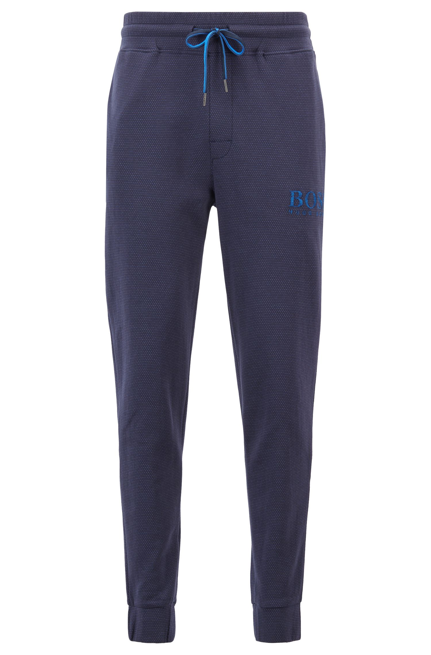 Loungewear pants in double-faced cotton, Blue