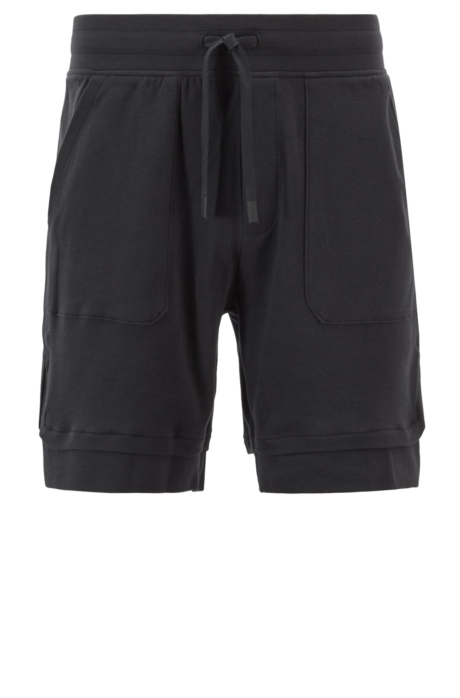 Loungewear shorts in cotton jersey with layered hems, Black