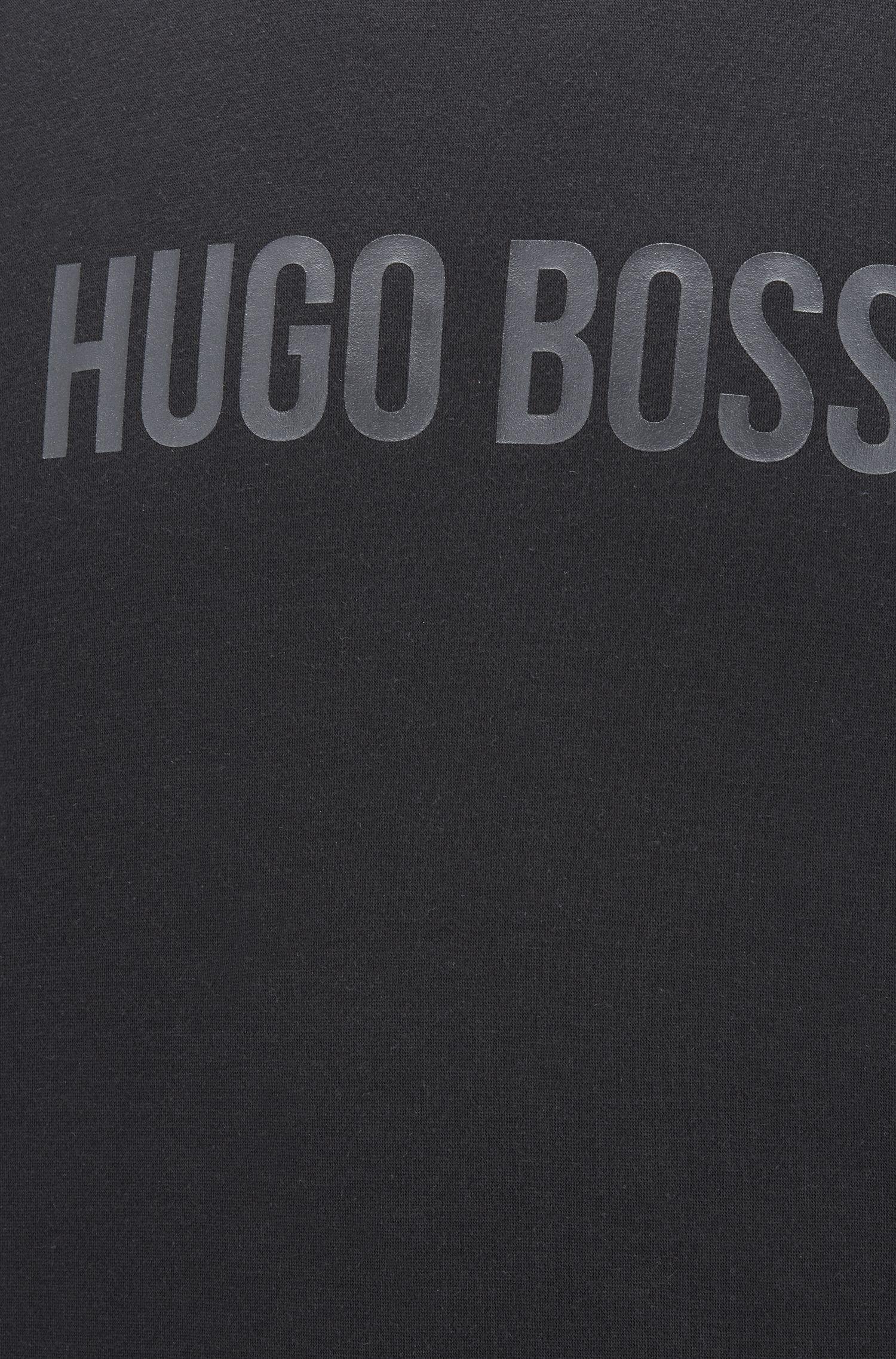 Crew-neck loungewear sweatshirt with metallic logo, Black
