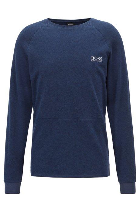 Regular-fit sweatshirt in an interlock cotton blend, Blue