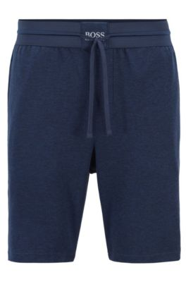 Loungewear shorts with a logo waistband, Blue