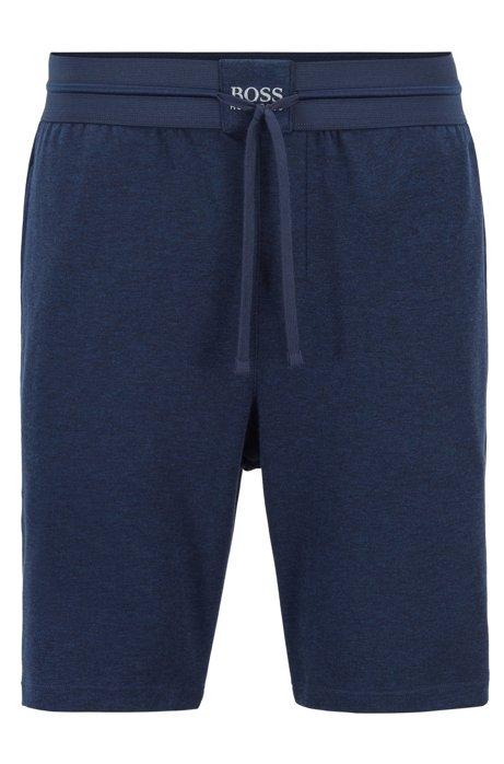 Loungewear shorts with a logo waistband, Blue