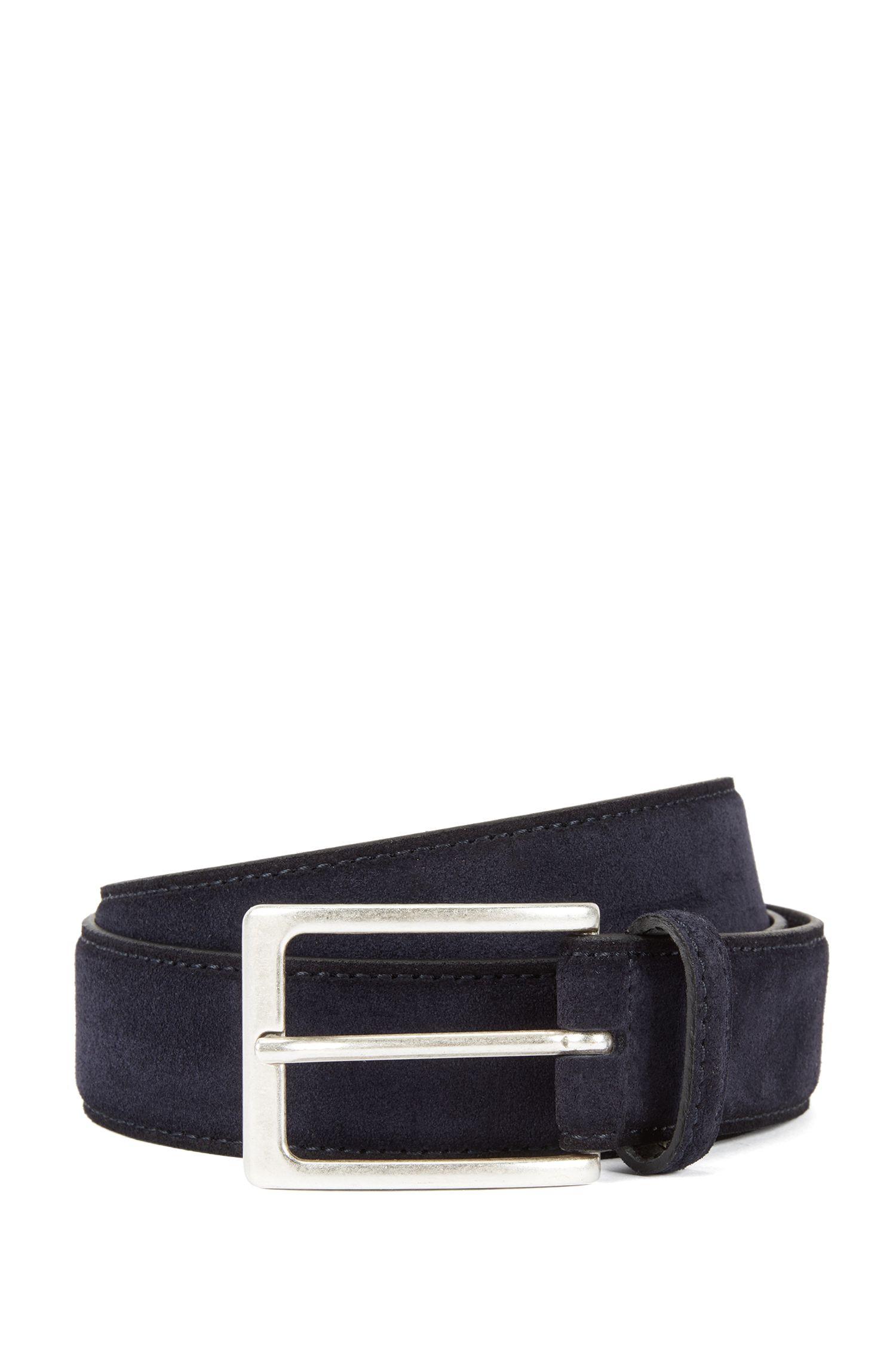 Suede belt with antique-effect buckle, Dark Blue