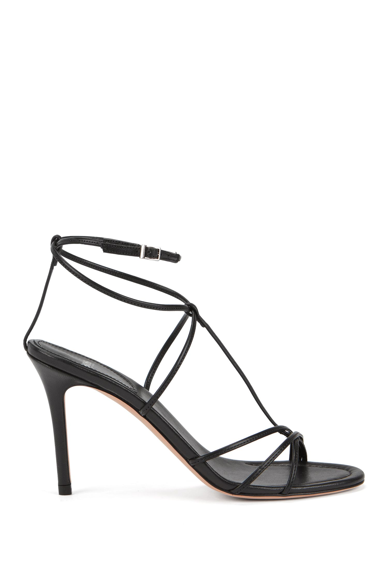 Gallery Collection sandals in Italian leather, Black
