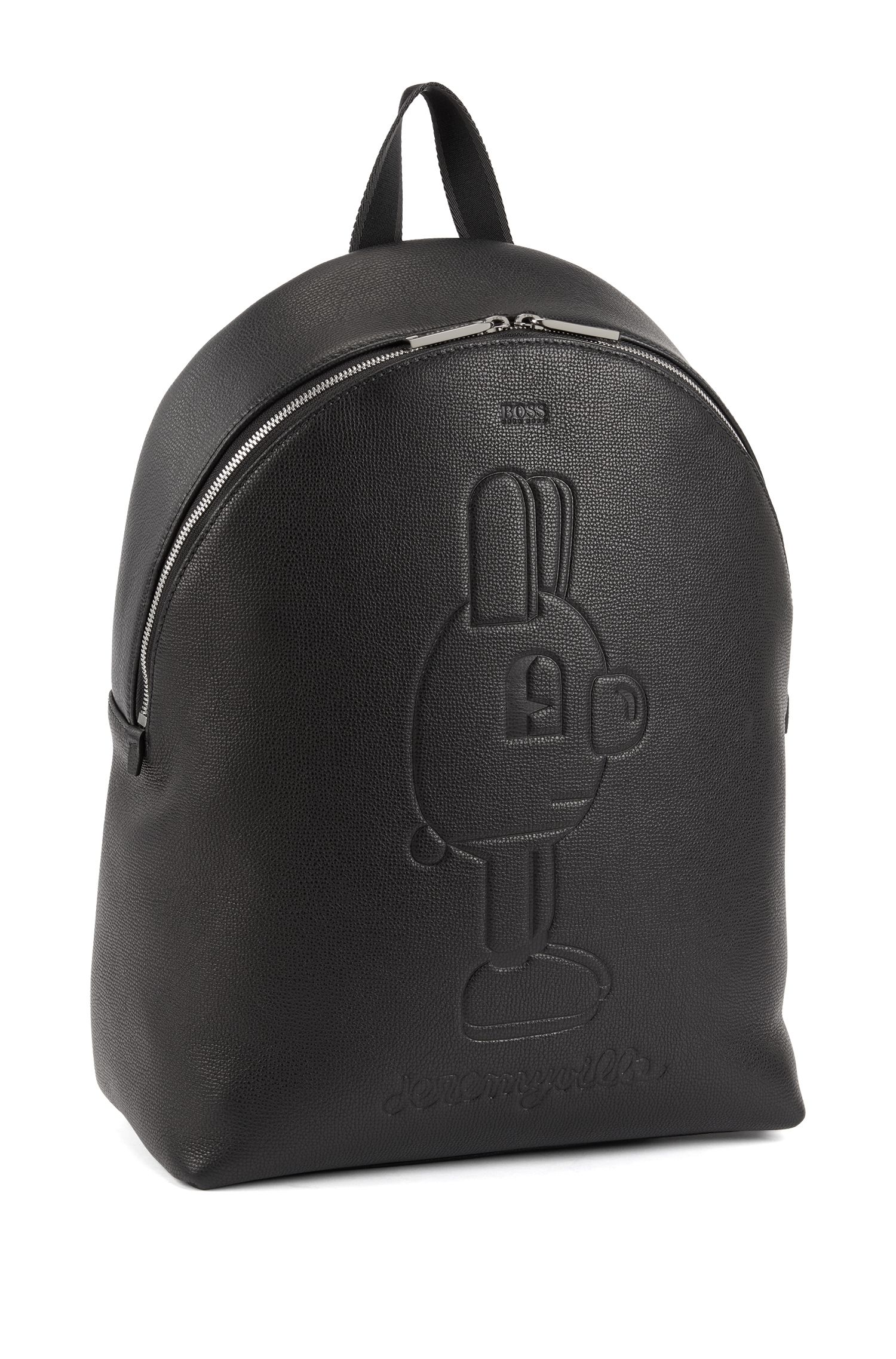Limited-edition backpack in leather with printed Jeremyville rabbit, Black