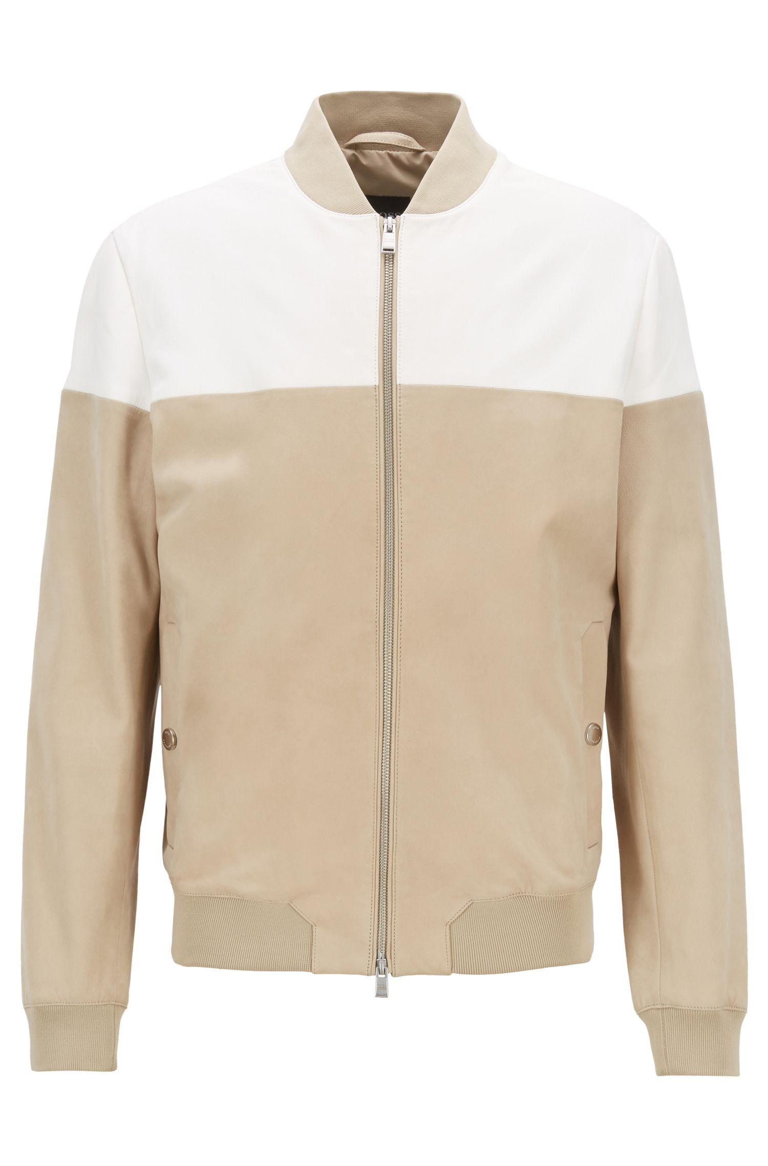 Color-block bomber jacket in nappa and nubuck leather, Light Beige