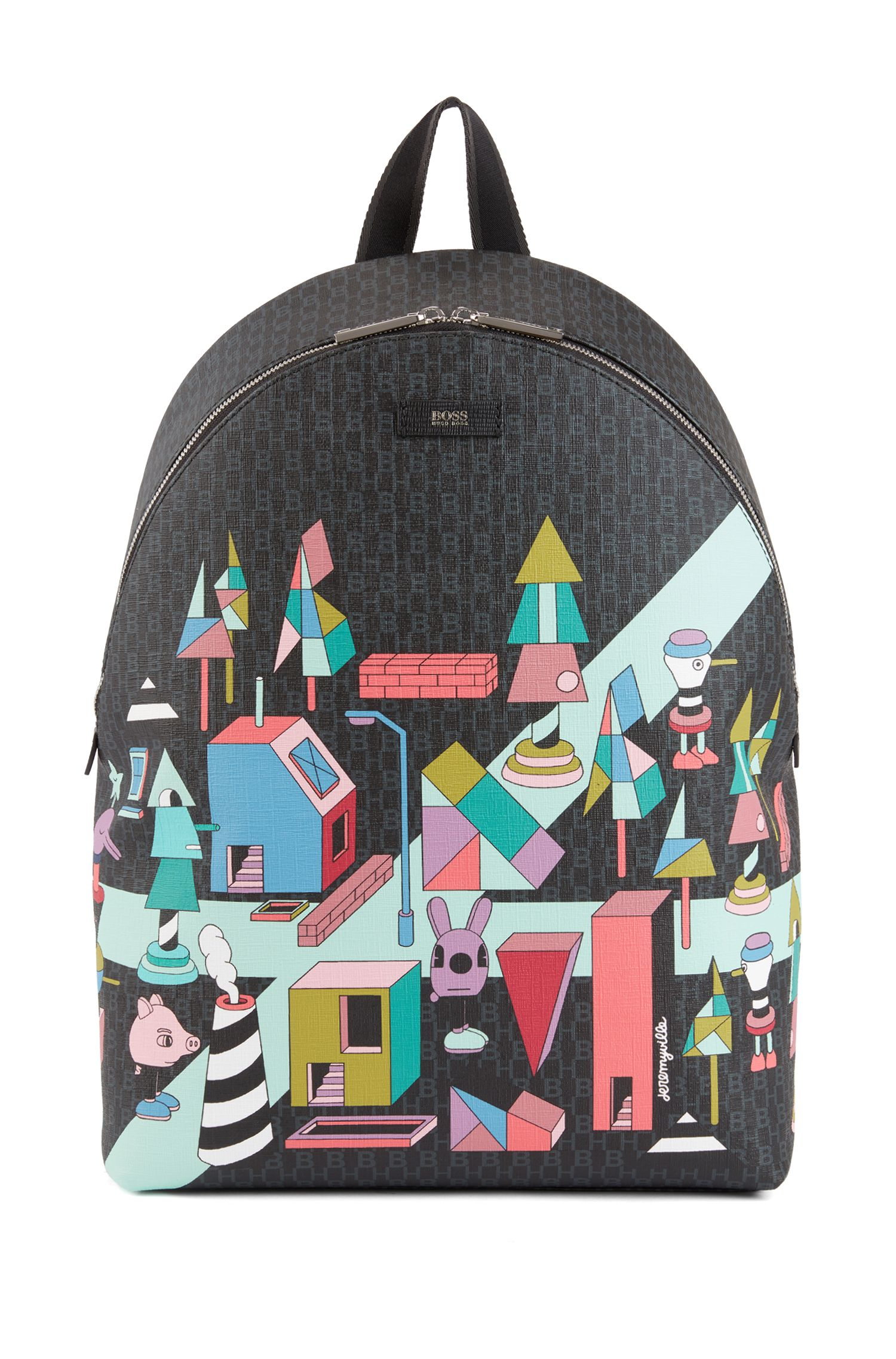Lmited-edition monogrammed backpack with coloured Jeremyville landscape print, Patterned
