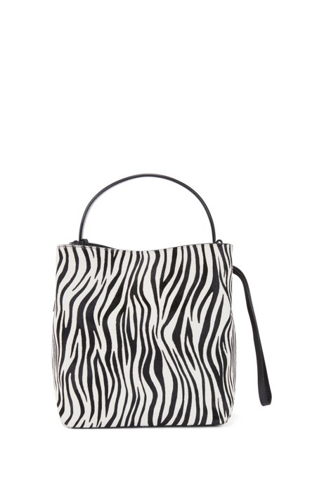 Gallery Collection Bucket Bag In Zebra Print Calf Fur Black