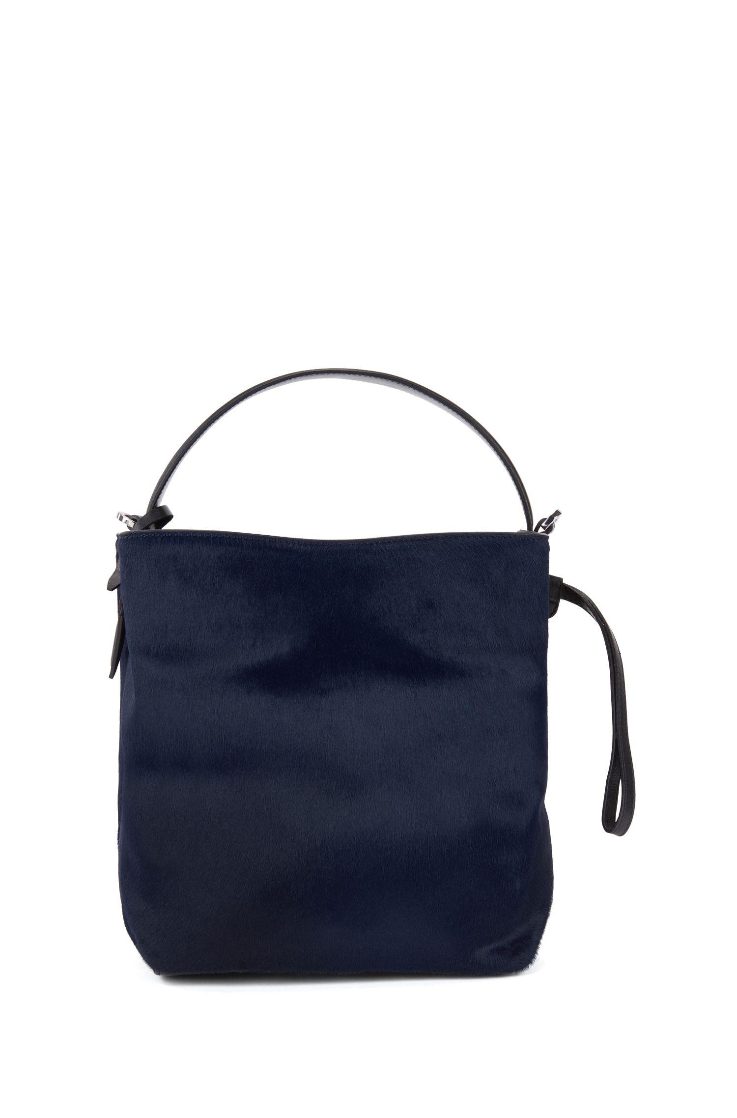 Gallery Collection bucket bag in premium Italian calf fur, Open Blue