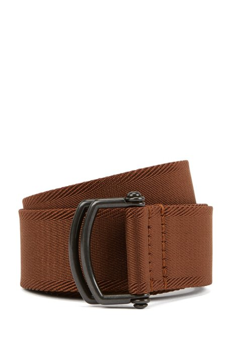 Fashion Show Capsule fabric belt with D-ring closure, Brown