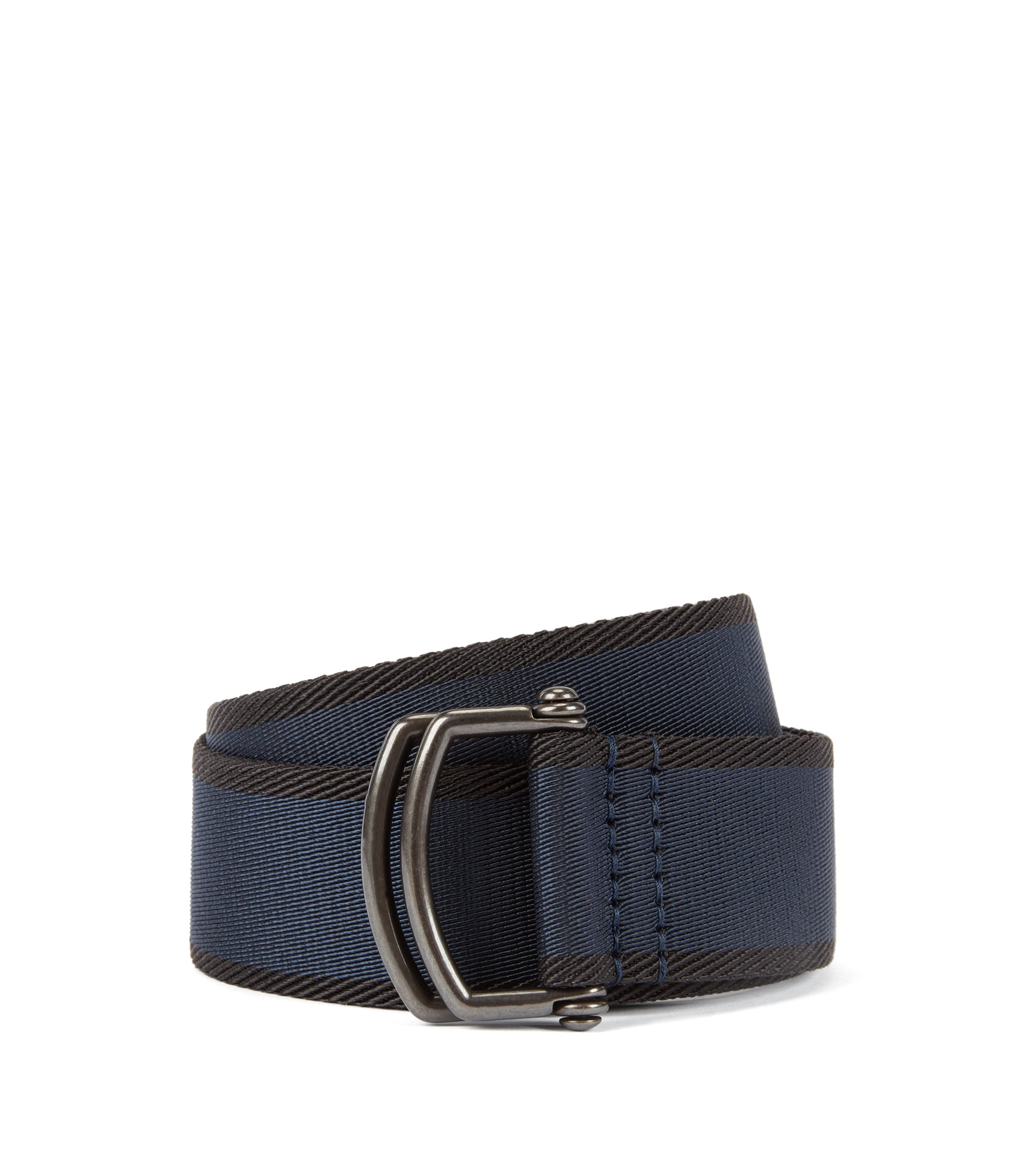 Fashion Show Capsule fabric belt with D-ring closure, Dark Blue