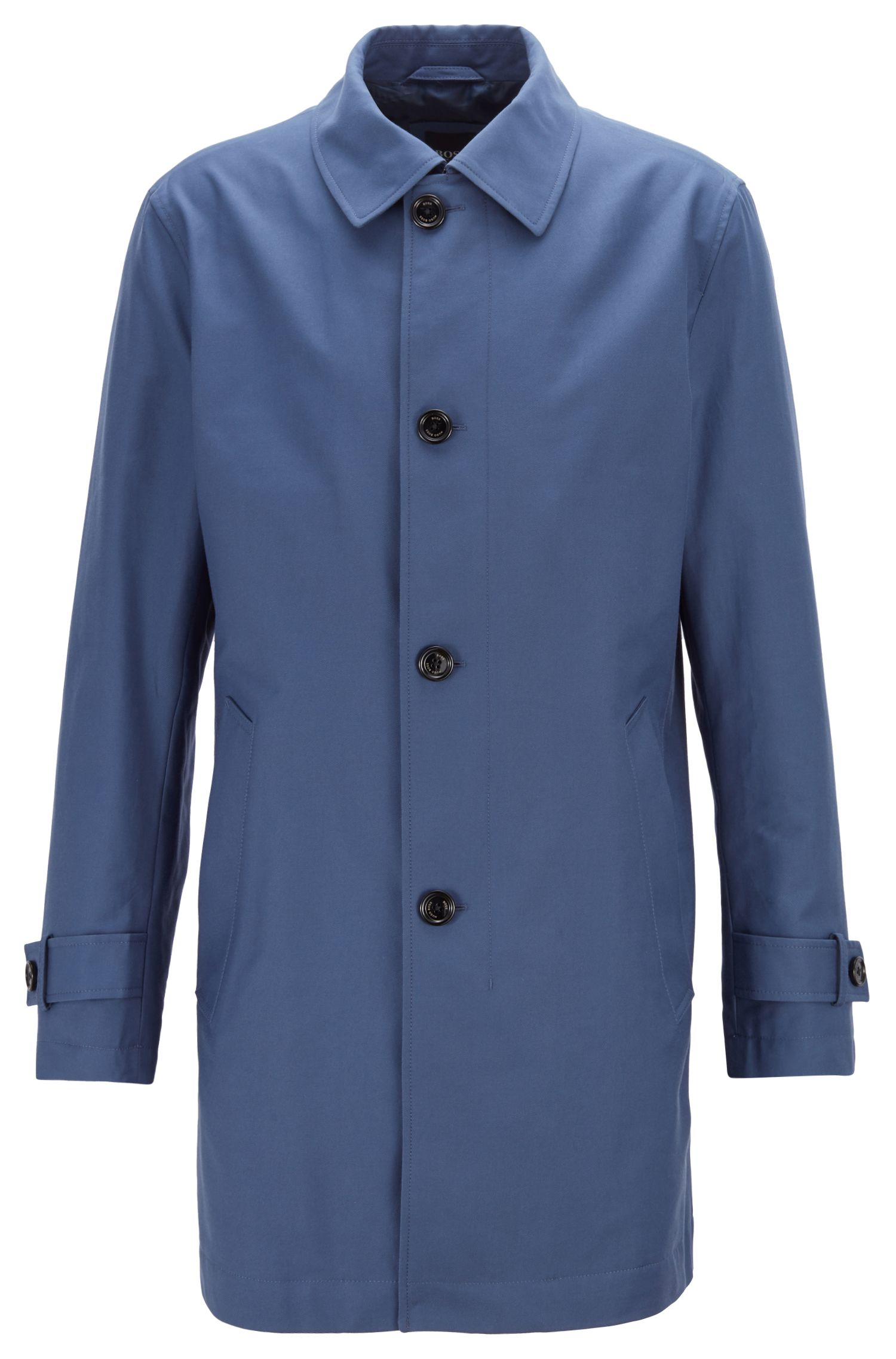 Button-through overcoat in eco-friendly twill, Open Blue