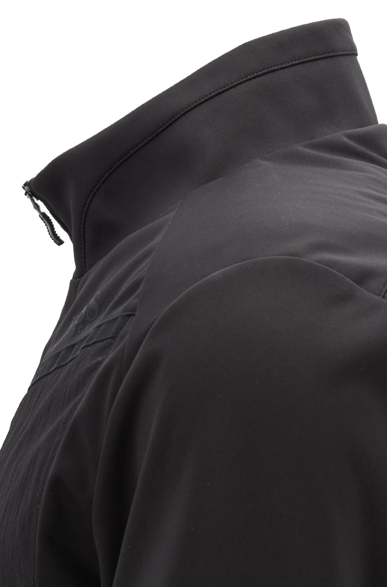 Water-repellent jacket with detachable down-filled panel, Black