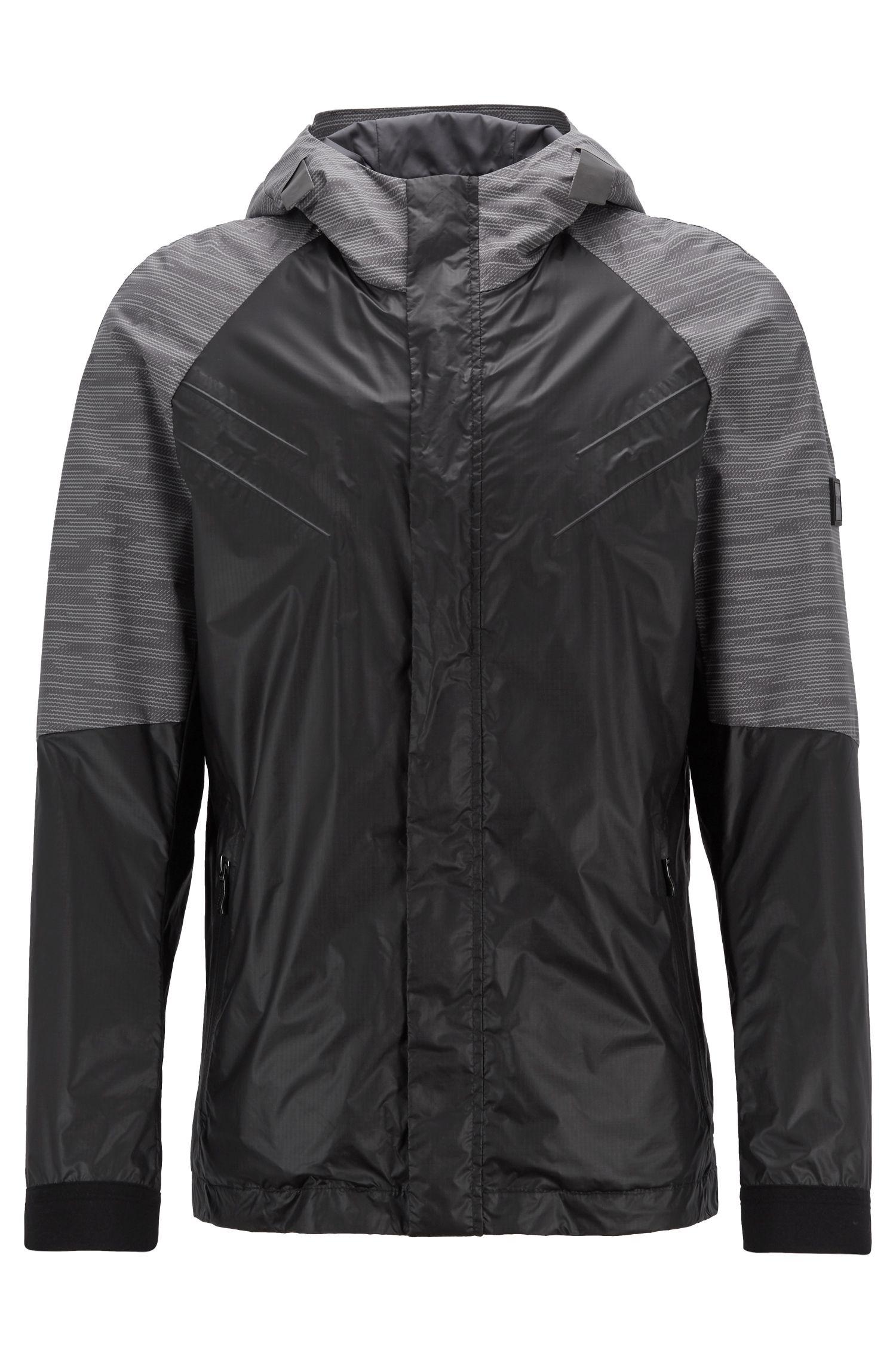 Lightweight parka jacket in water-repellent ripstop fabric, Black