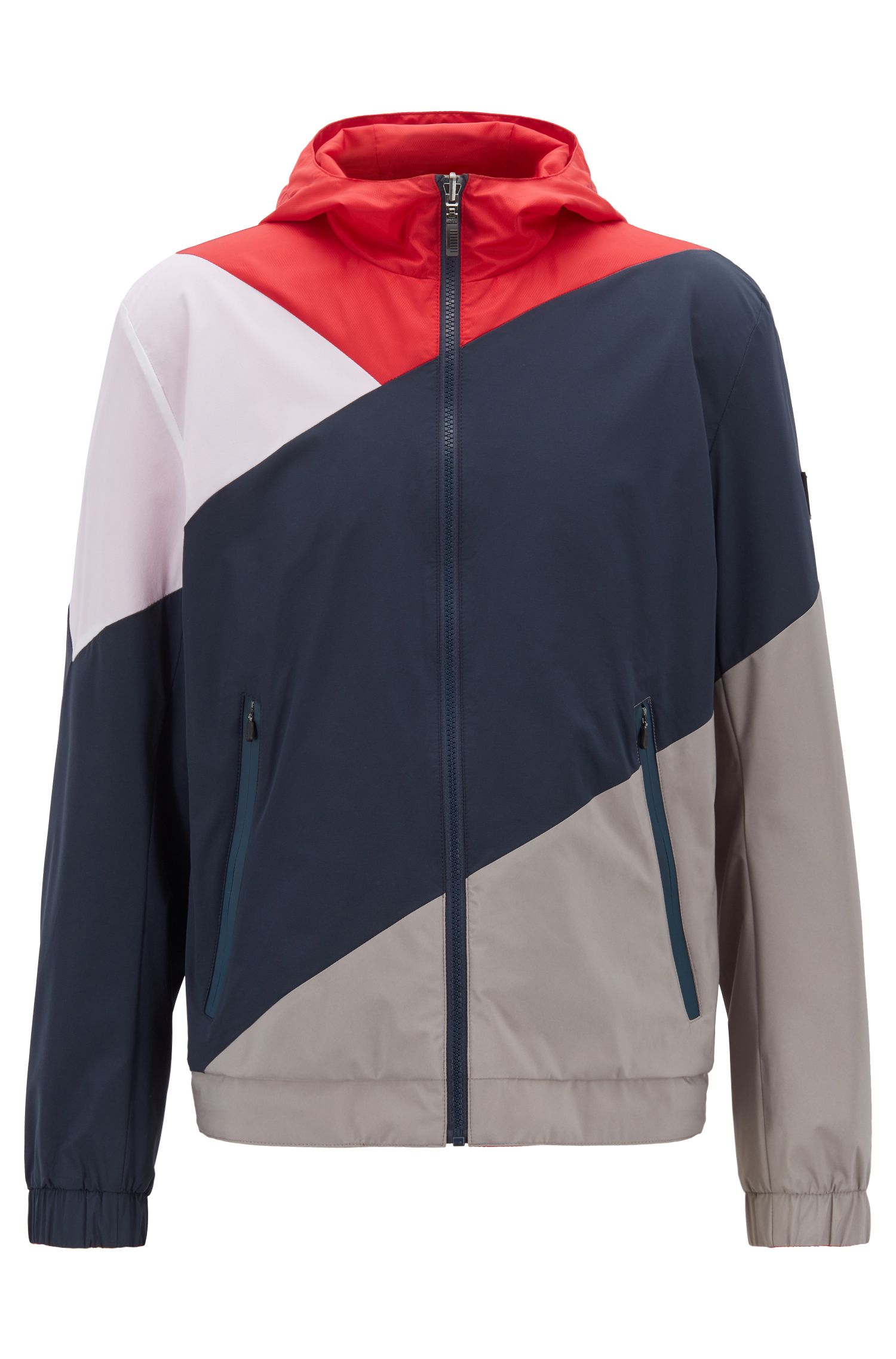 Reversible hooded jacket in water-repellent micro-structure fabric, Red