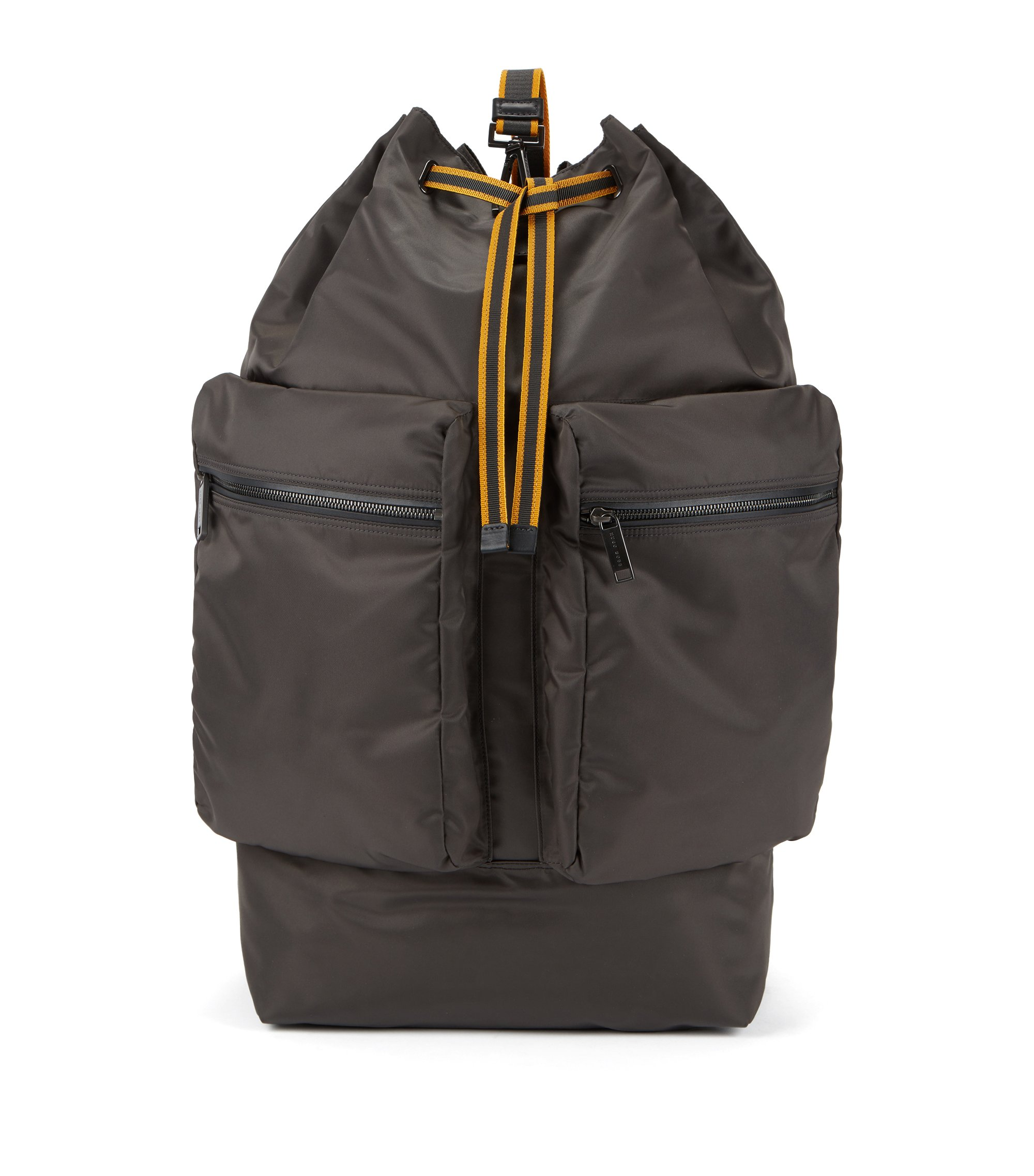 Fashion Show Capsule oversize technical backpack with leather trims, Charcoal