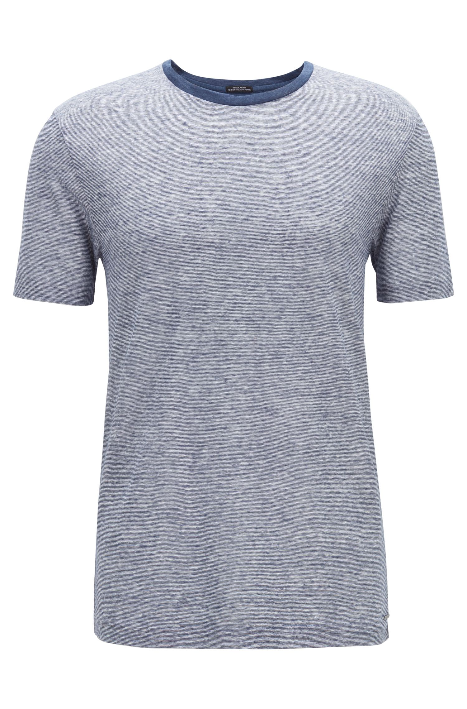 Regular-fit T-shirt in striped Italian linen, Open Blue