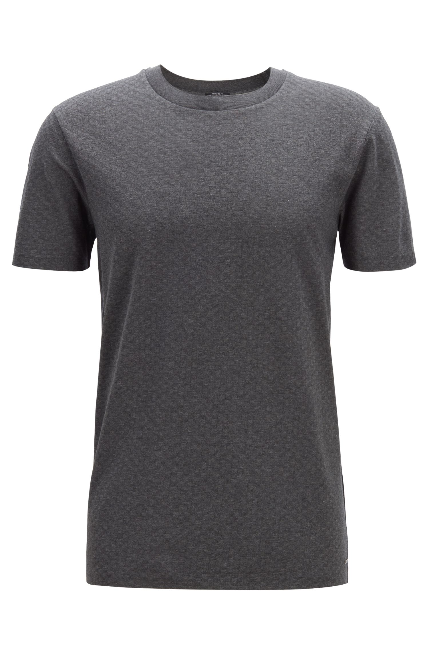 Regular-fit T-shirt in cotton with fine waffle structure, Grey