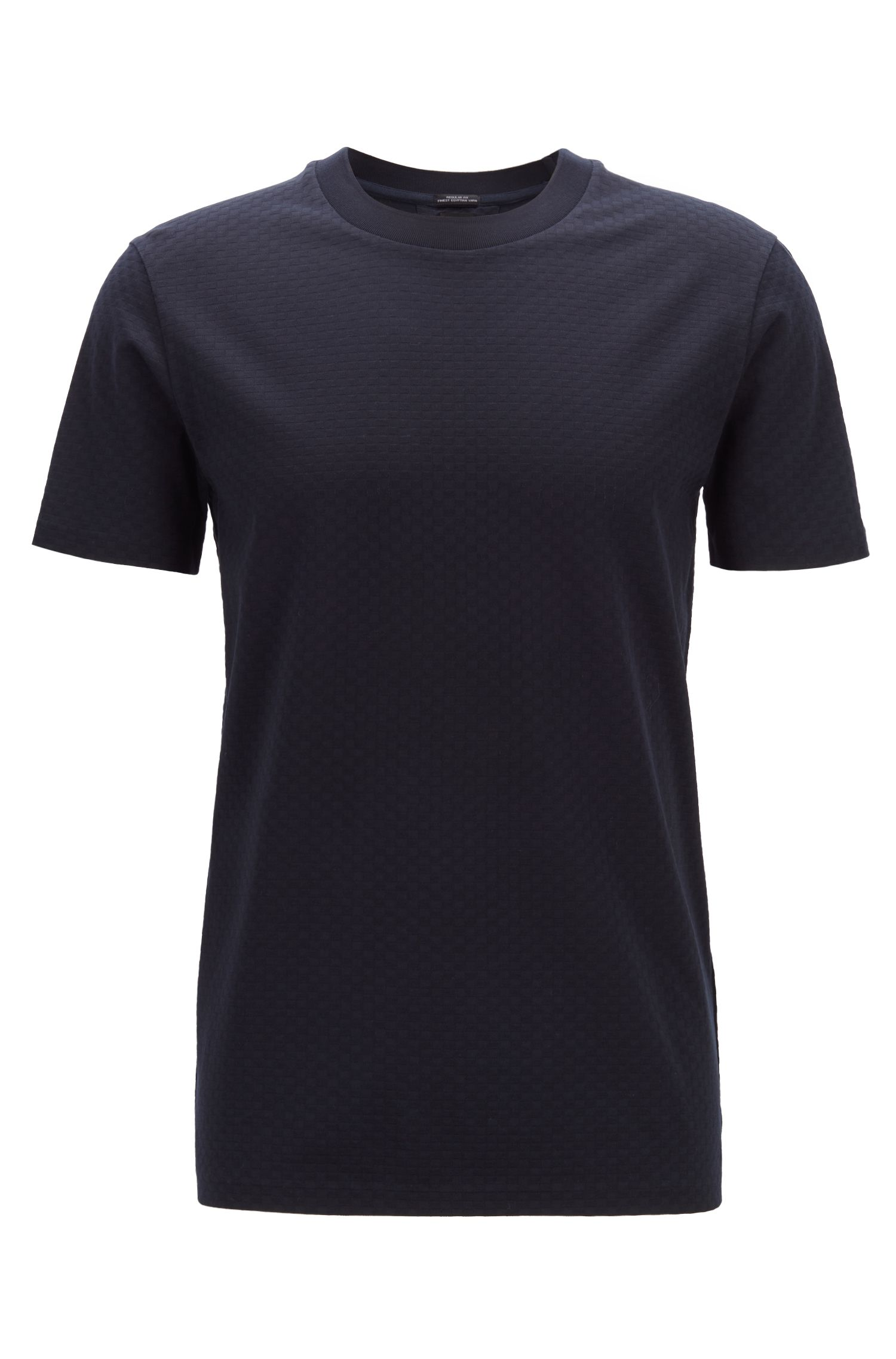 Regular-fit T-shirt in cotton with fine waffle structure, Dark Blue