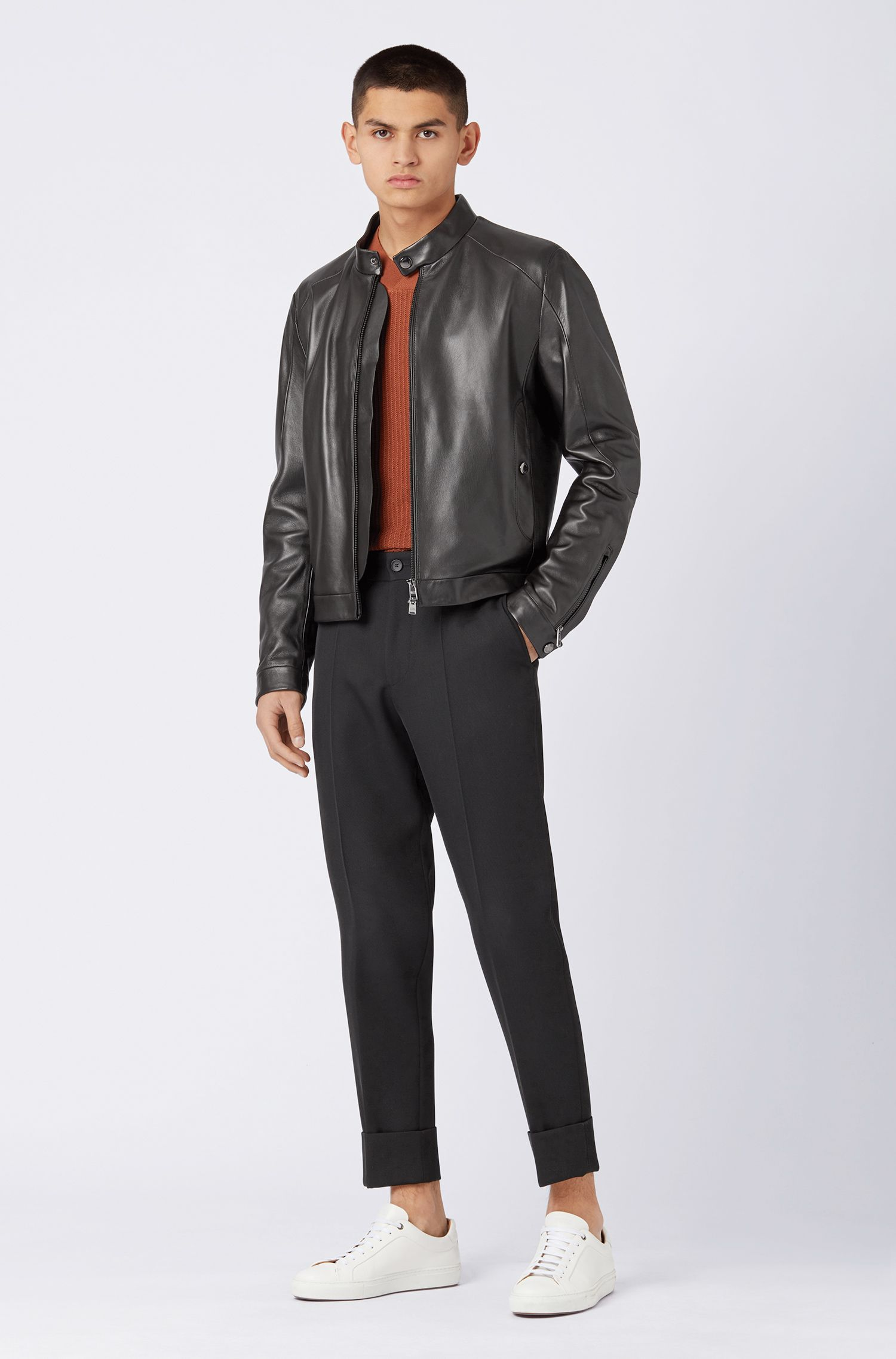 Blouson-style jacket in nappa leather, Black