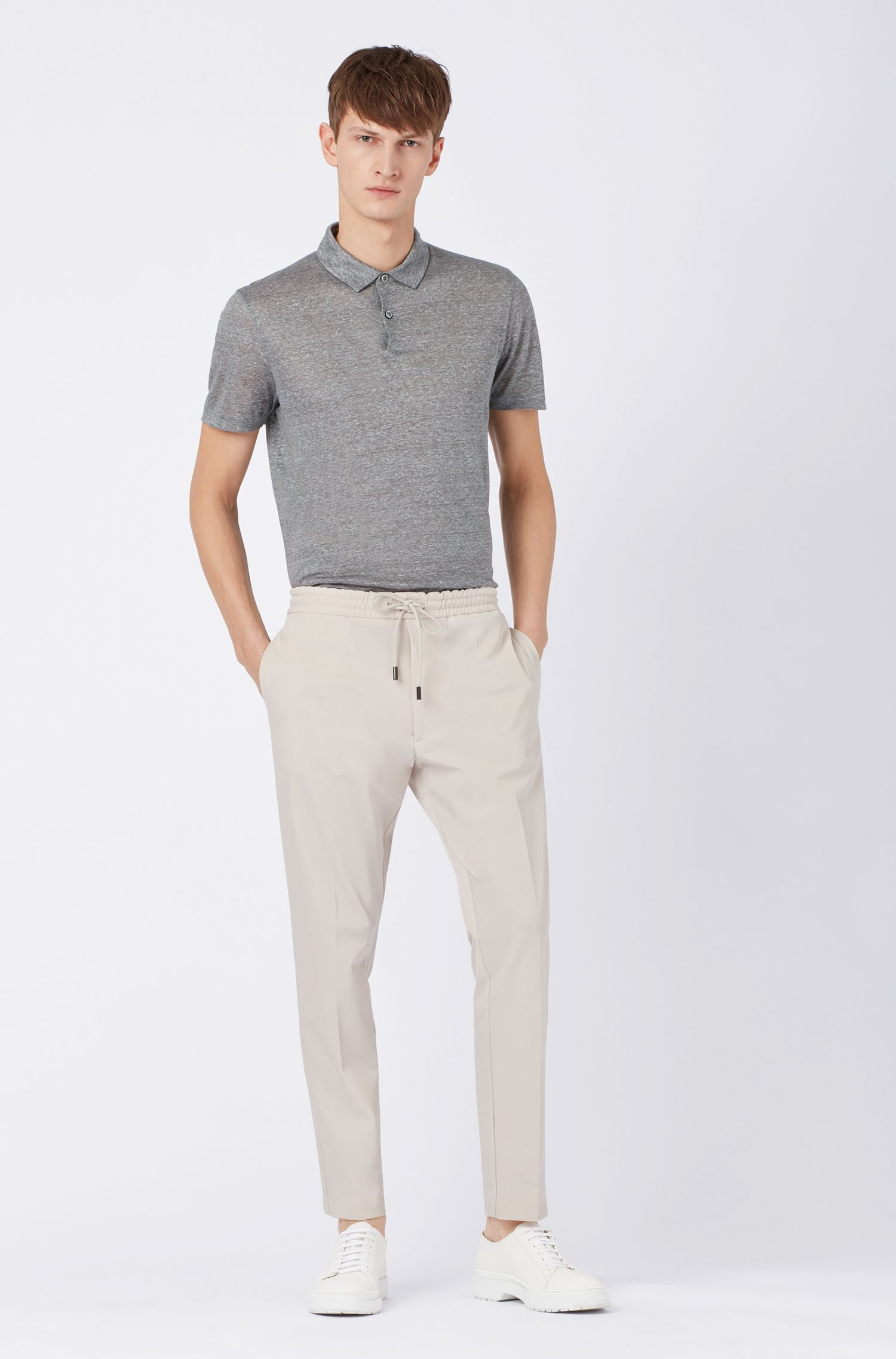 Polo shirt in printed Italian linen with short placket, Grey