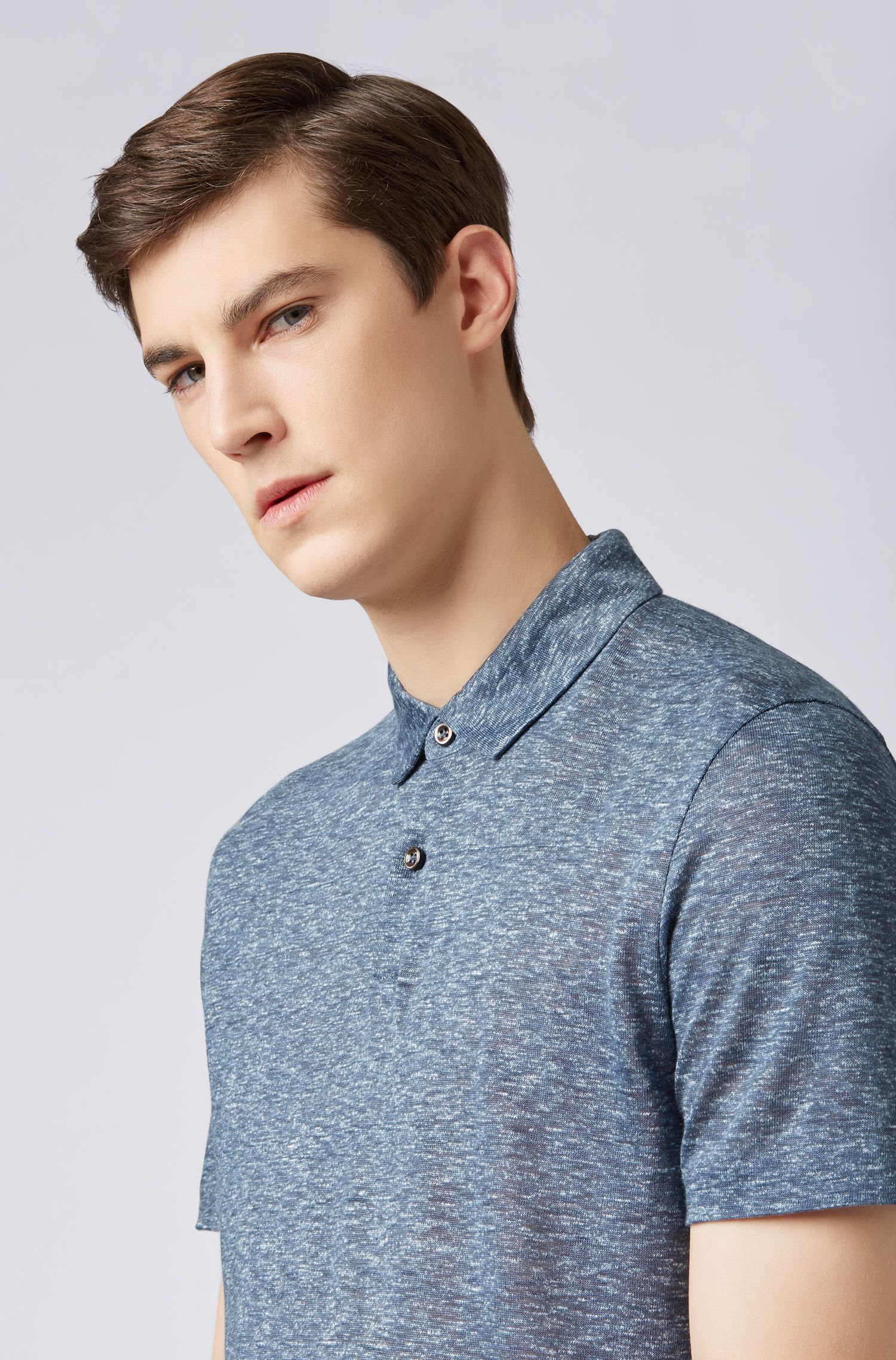 Polo shirt in printed Italian linen with short placket, Open Blue