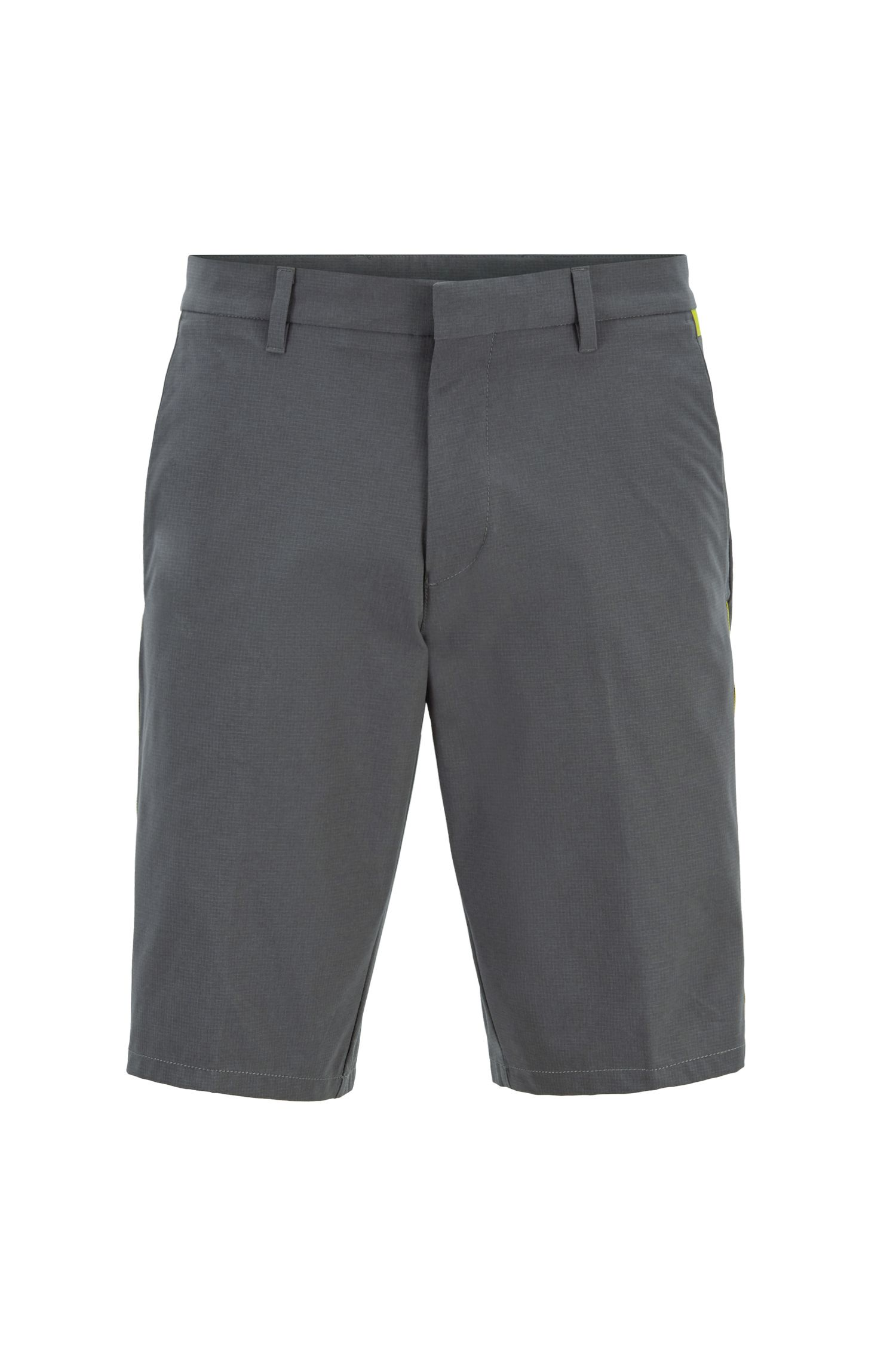 Extra-slim-fit water-repellent shorts in stretch ripstop fabric, Grey