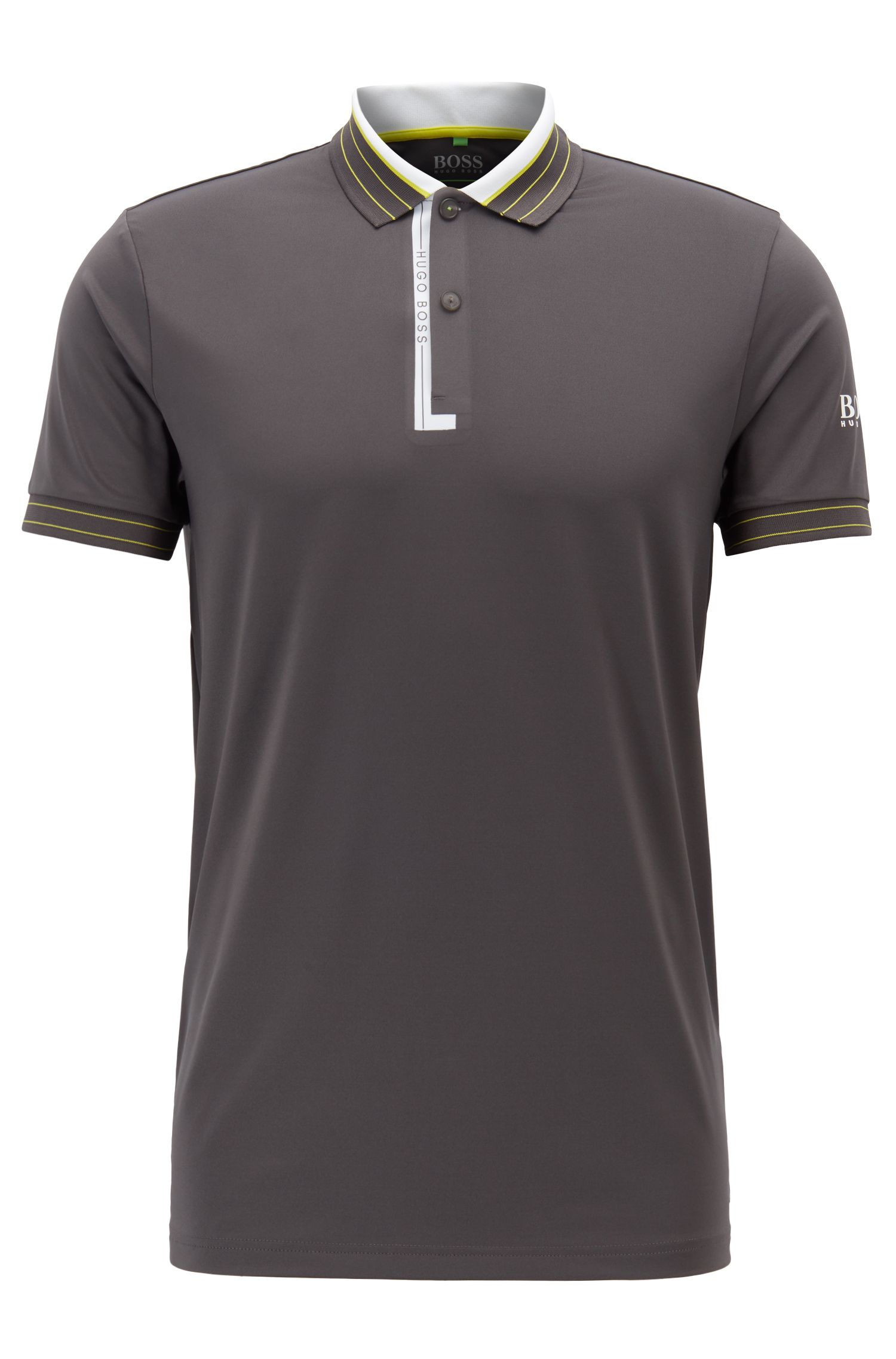 Regular-fit polo shirt in moisture-wicking stretch jersey, Grey