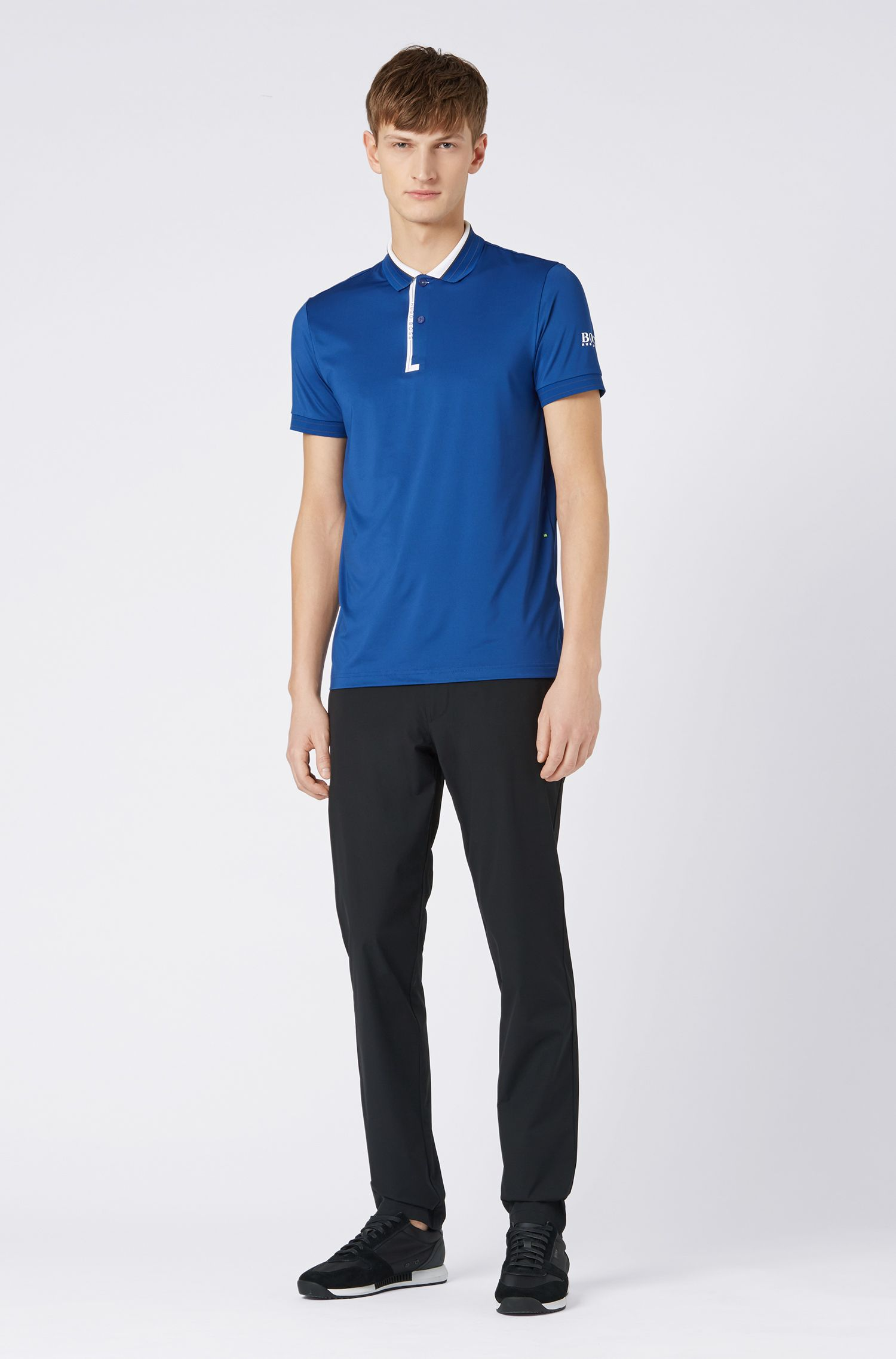 Regular-fit polo shirt in moisture-wicking stretch jersey, Open Blue
