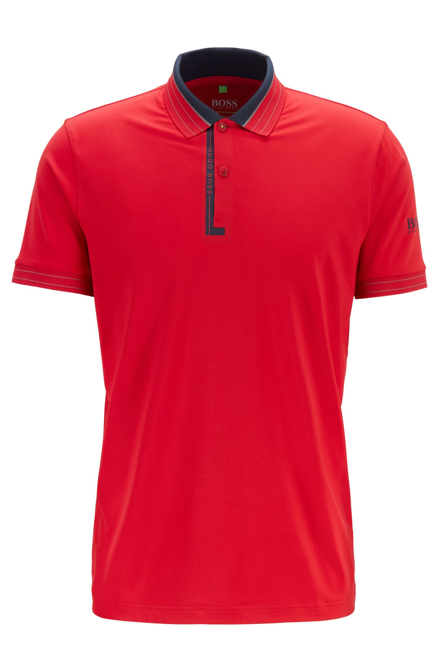 Regular-fit polo shirt in moisture-wicking stretch jersey, Red