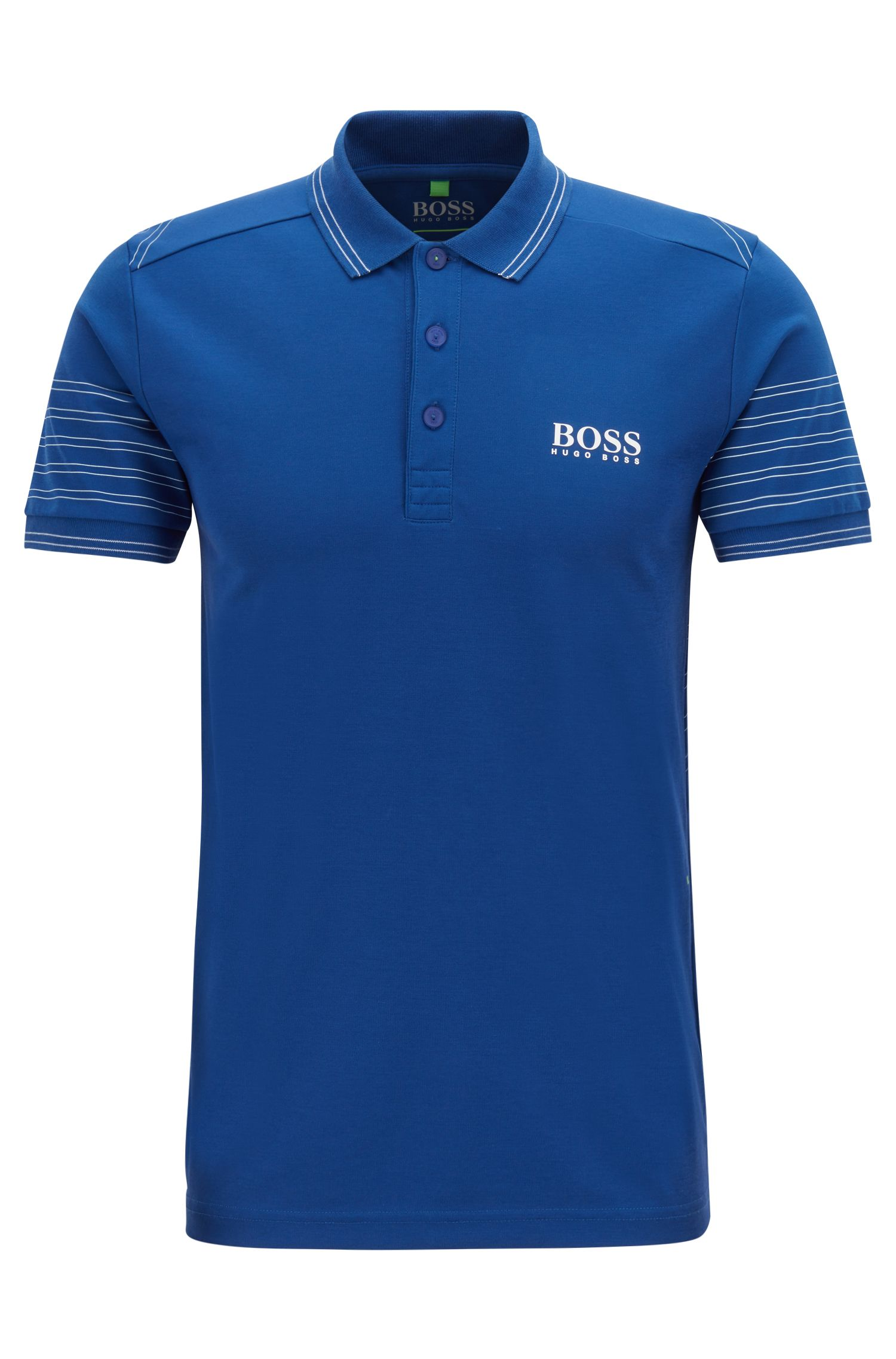 Slim-fit polo shirt in moisture-wicking stretch fabric, Open Blue