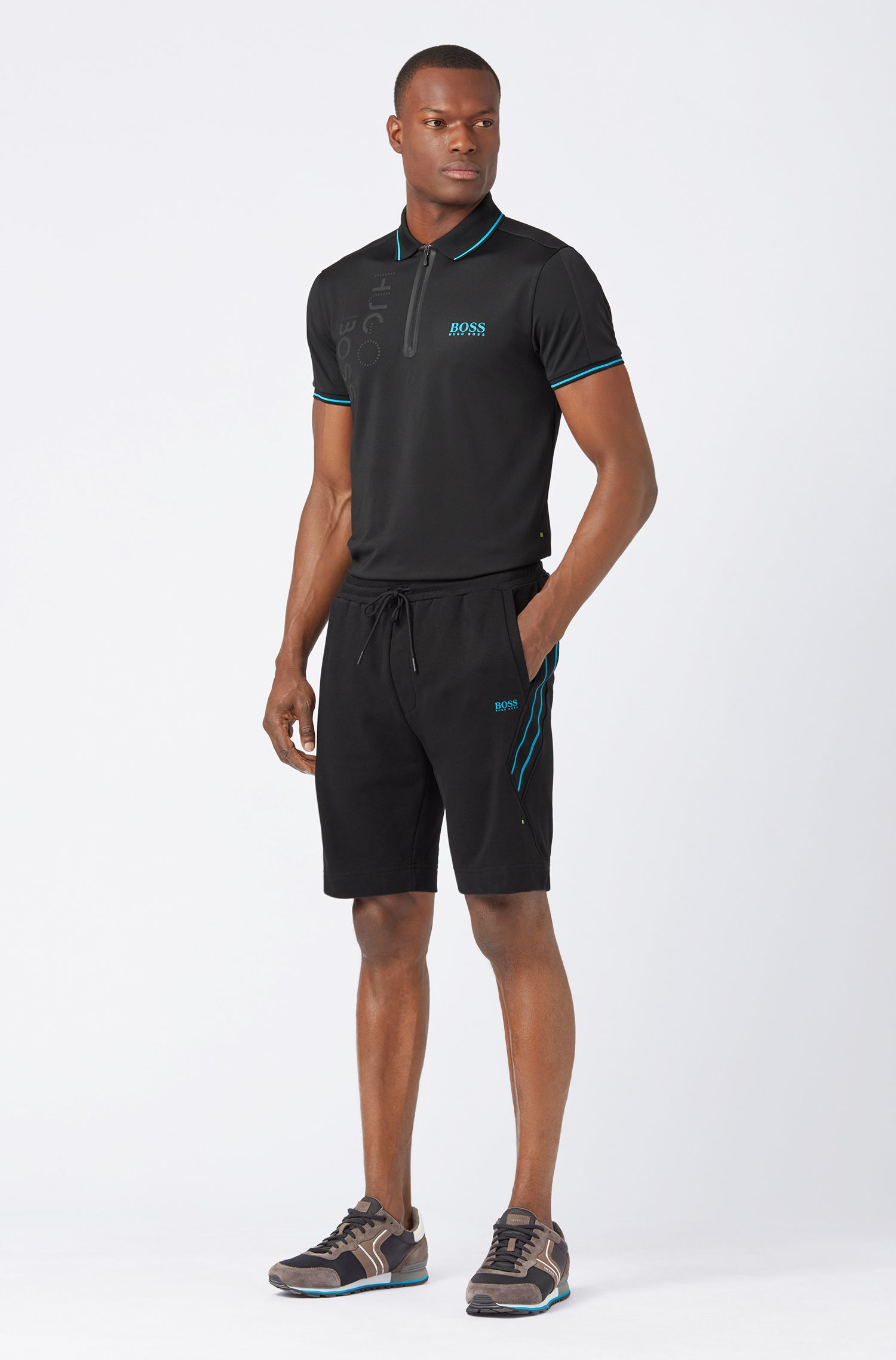 Slim-fit polo shirt with moisture-wicking functionality, Black