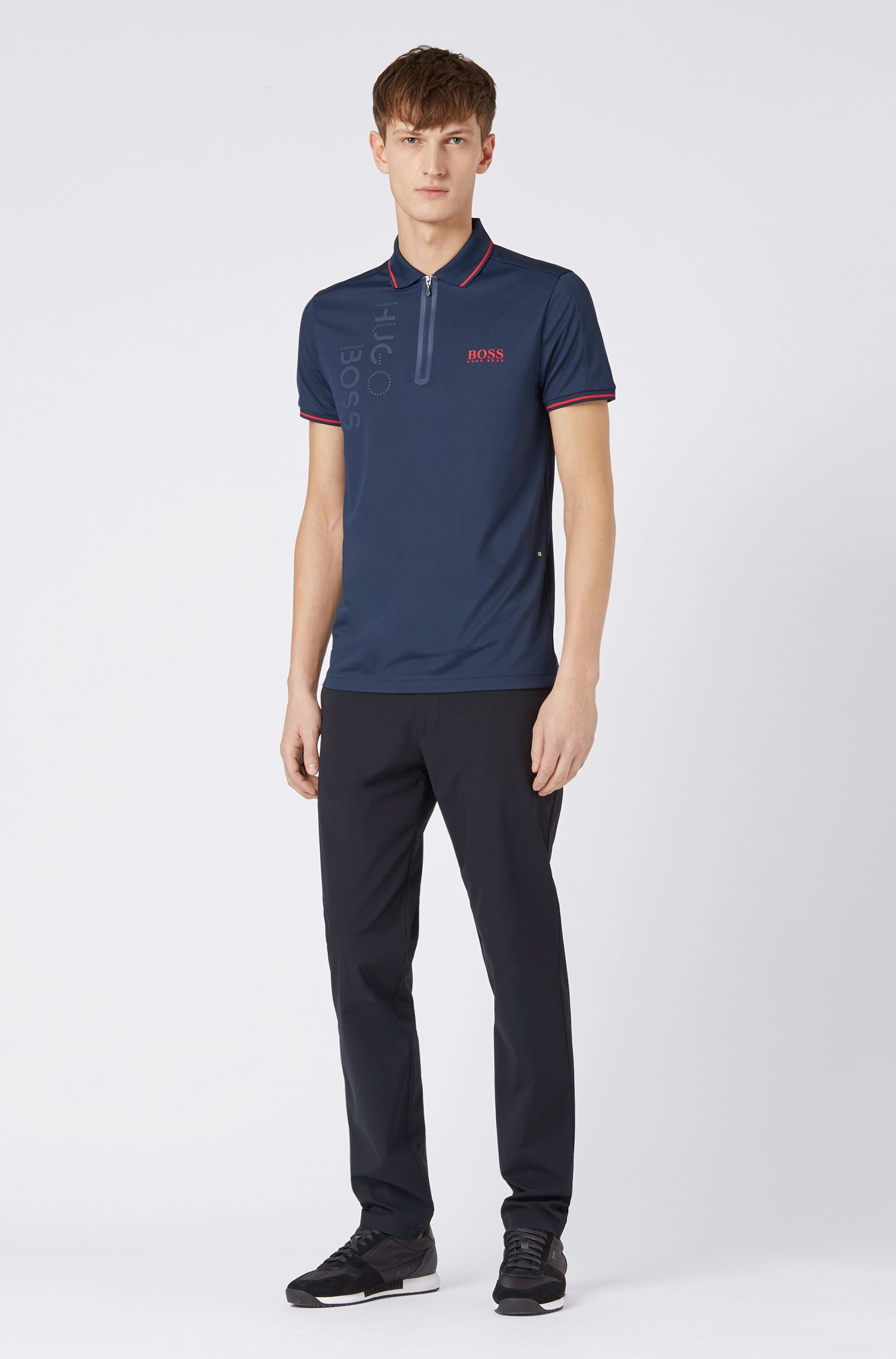 Slim-fit polo shirt with moisture-wicking functionality, Dark Blue