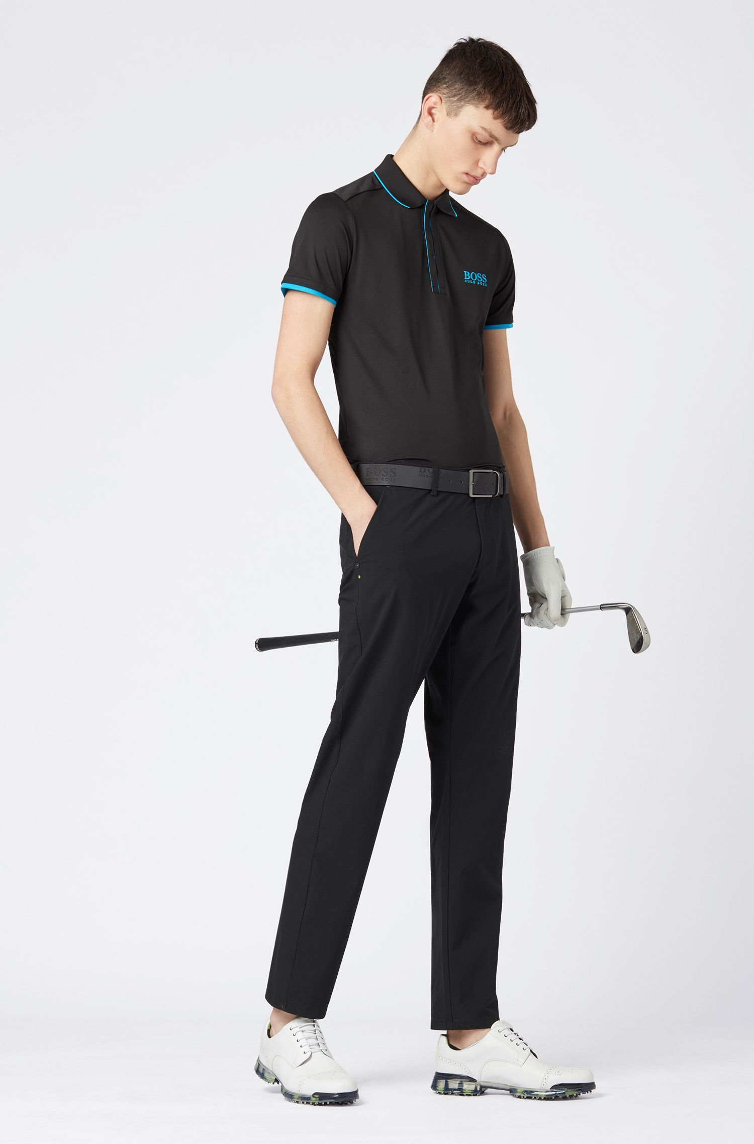 Slim-fit polo shirt in waffle piqué with S.Café®, Black