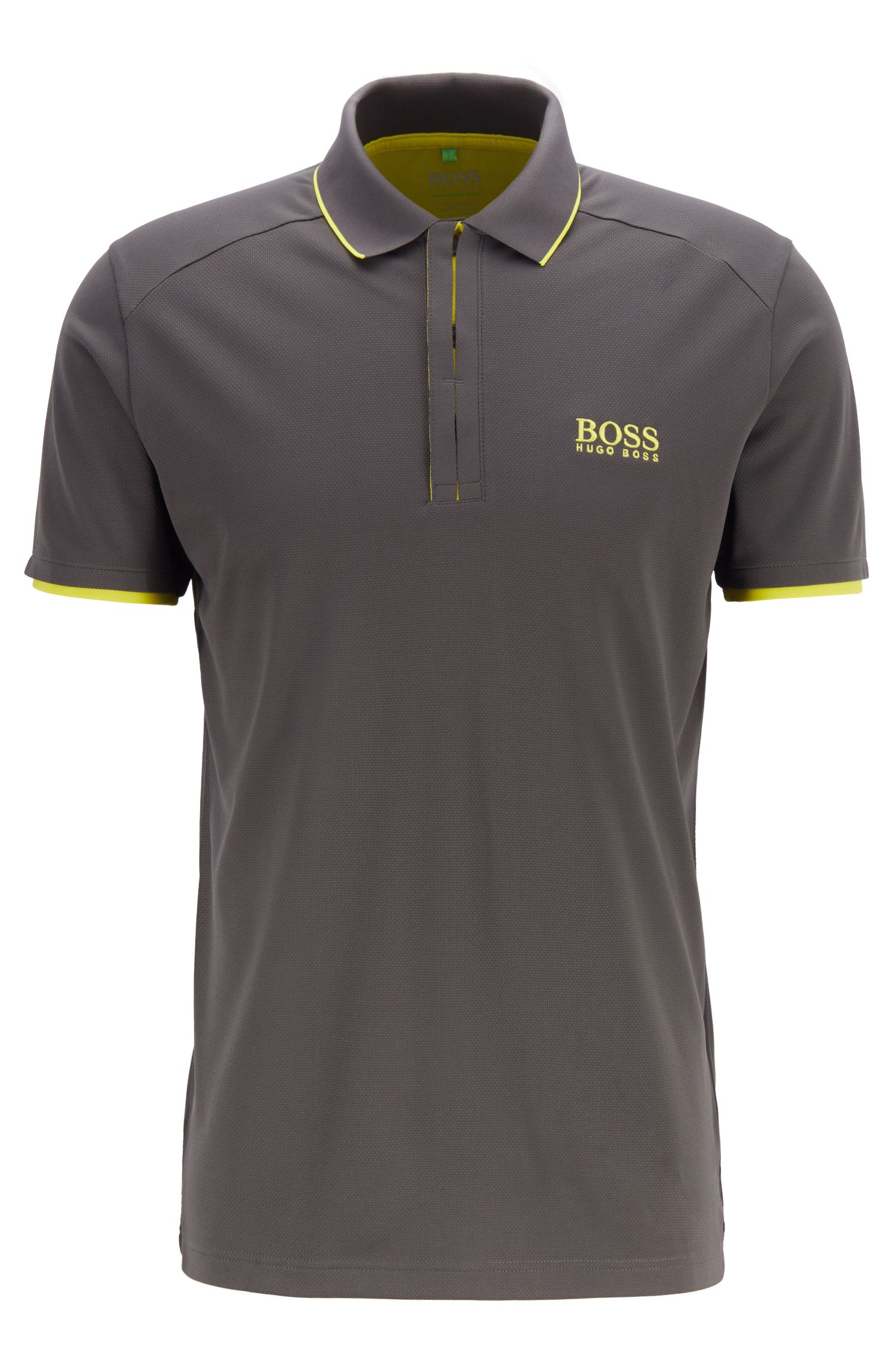 Slim-fit polo shirt in waffle piqué with S.Café®, Grey
