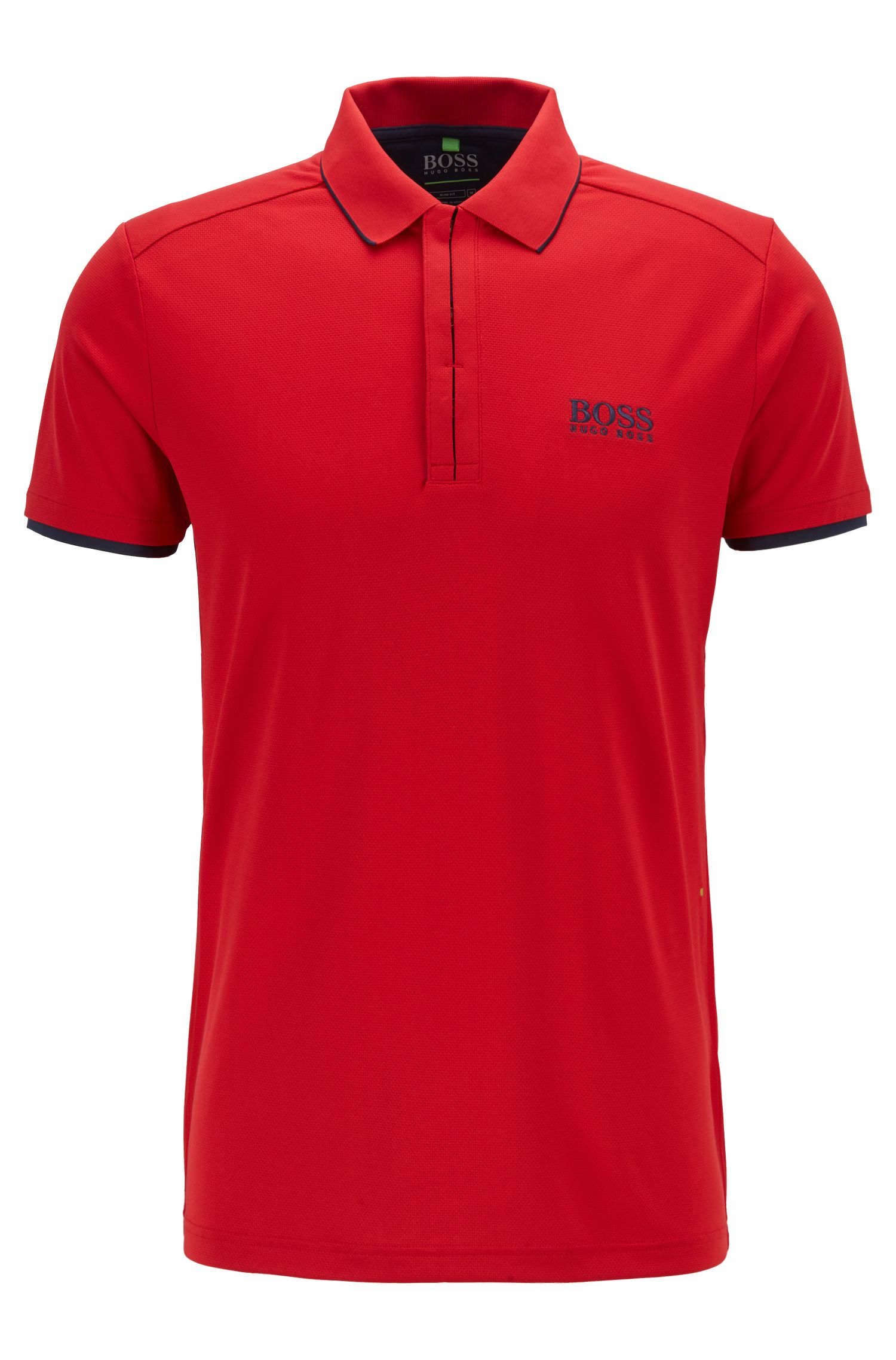 Slim-fit polo shirt in waffle piqué with S.Café®, Red