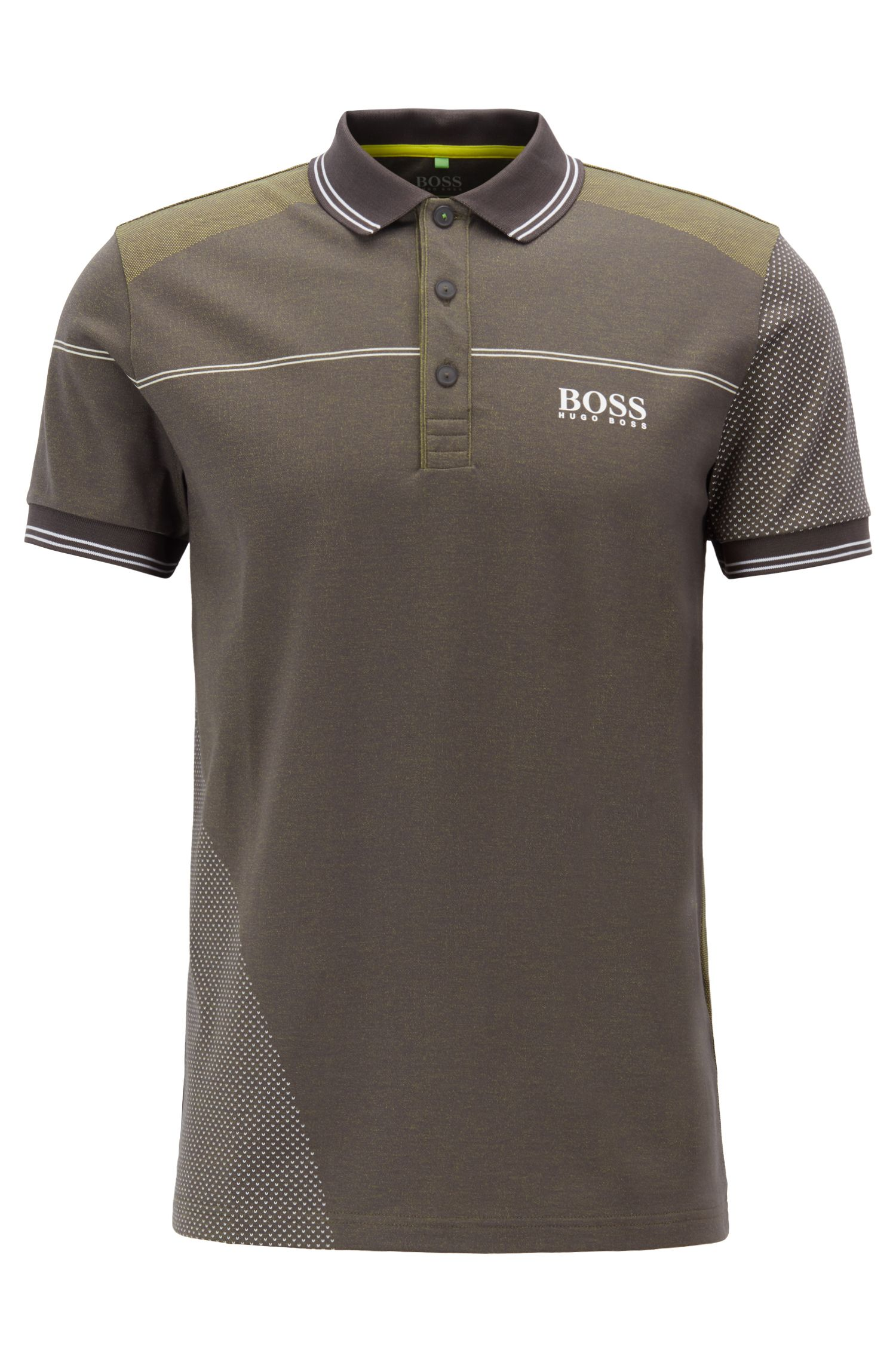 Regular-fit polo shirt in moisture-wicking jacquard jersey, Grey