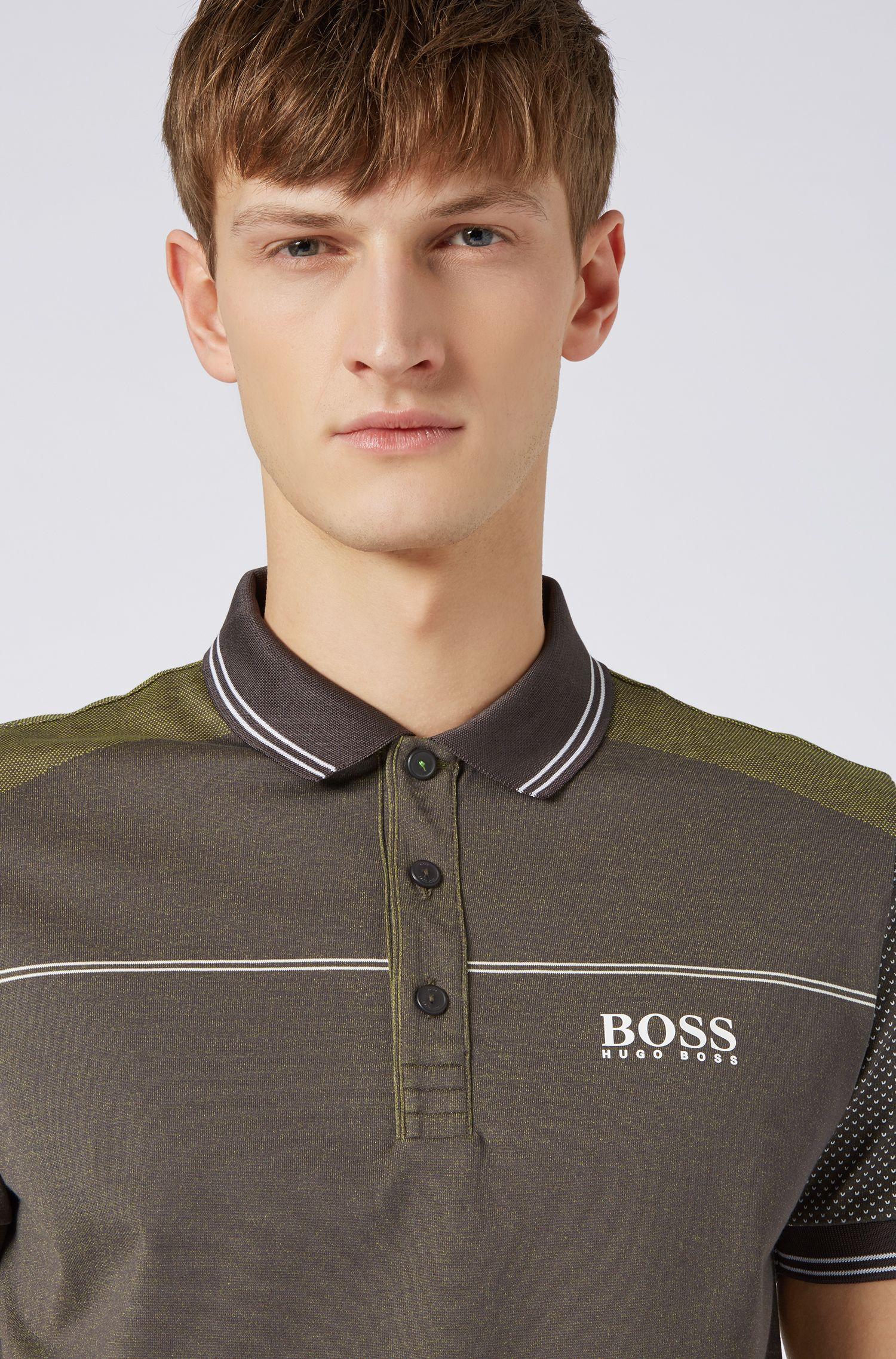 Regular-fit polo shirt in moisture-wicking jacquard jersey, Grey