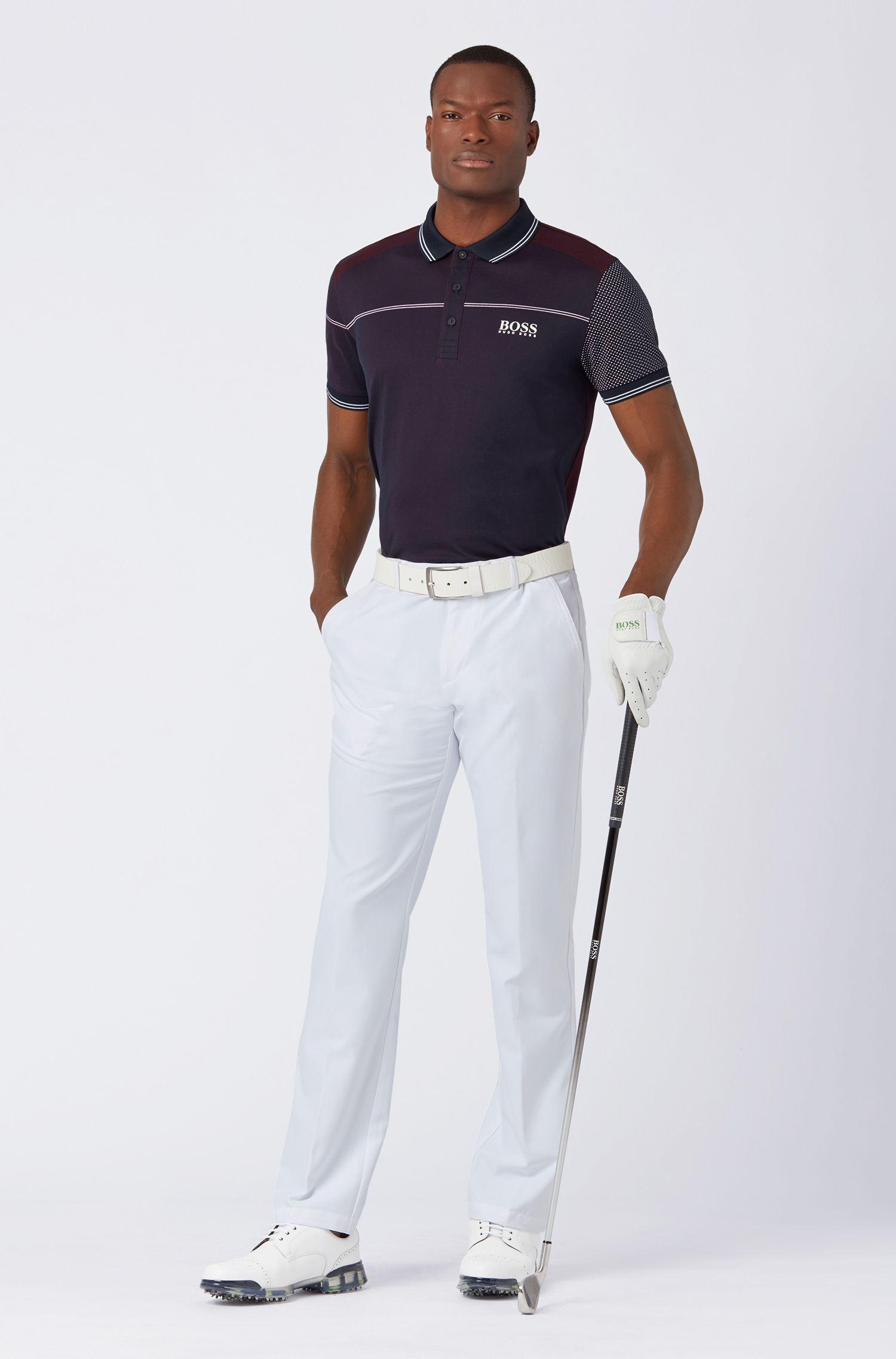 Regular-fit polo shirt in moisture-wicking jacquard jersey, Dark Blue