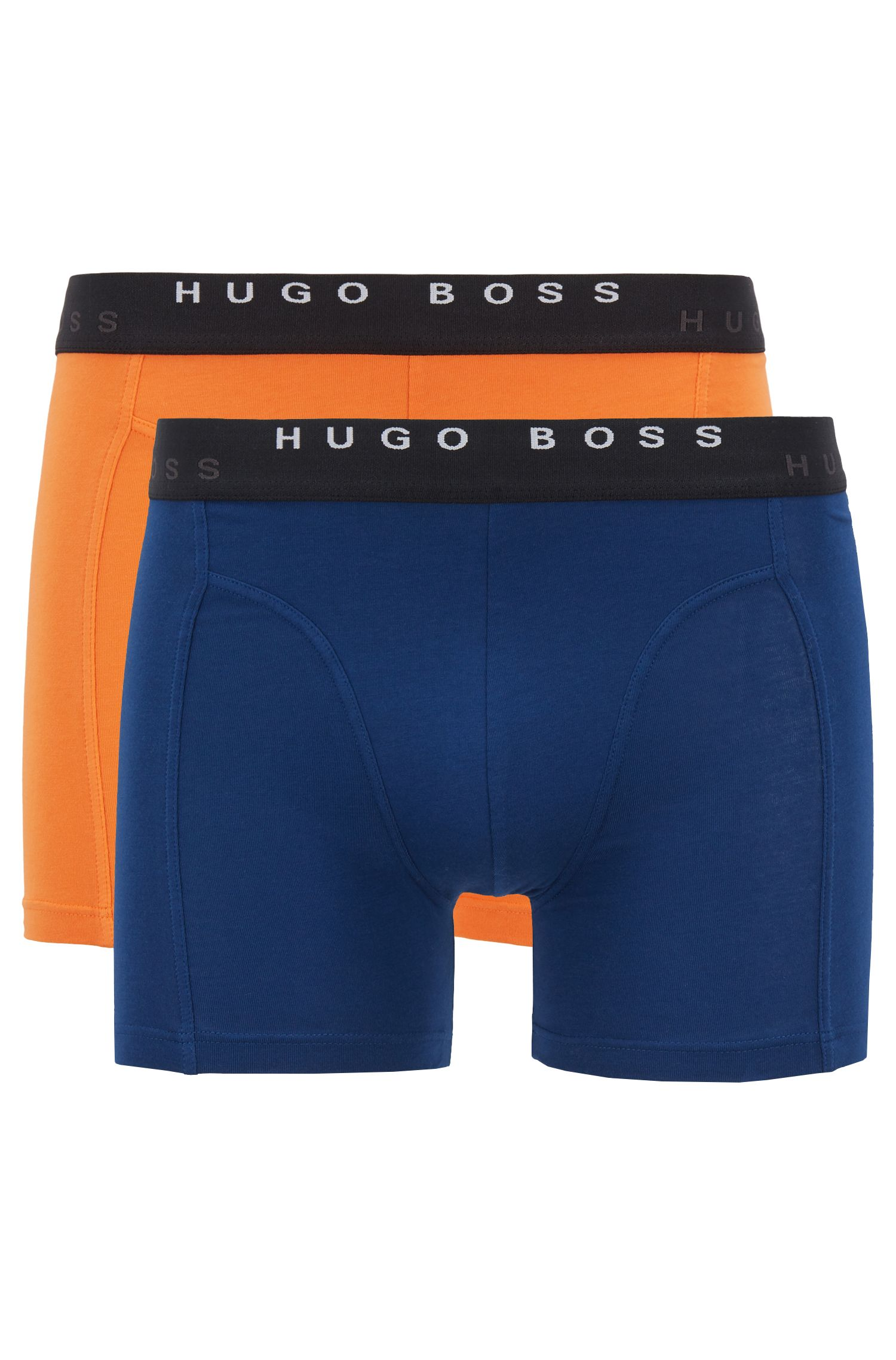 Two-pack of plain boxer briefs in stretch-cotton single jersey, Dark Orange
