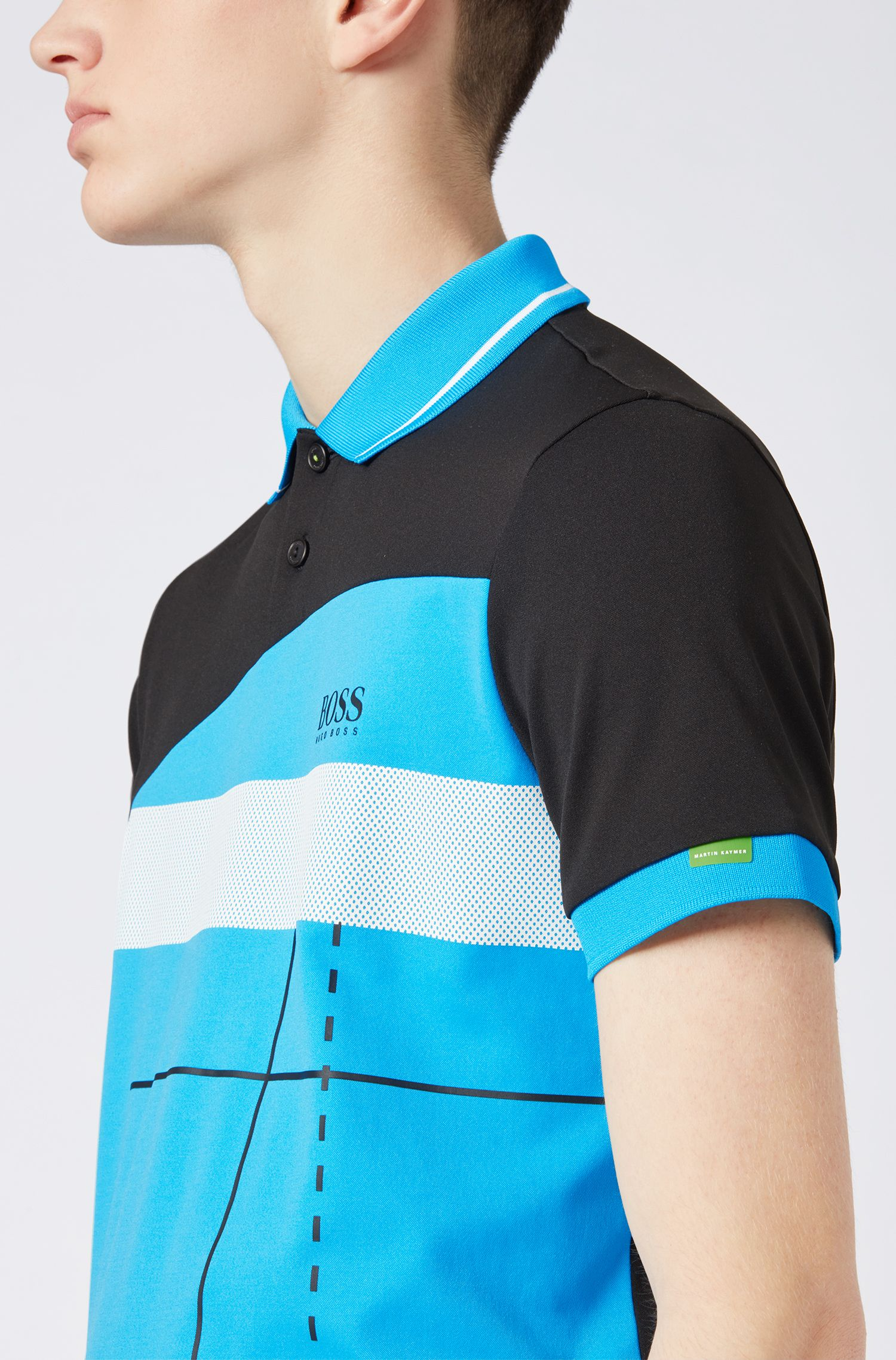 Martin Kaymer regular-fit polo shirt with dynamic artwork, Black