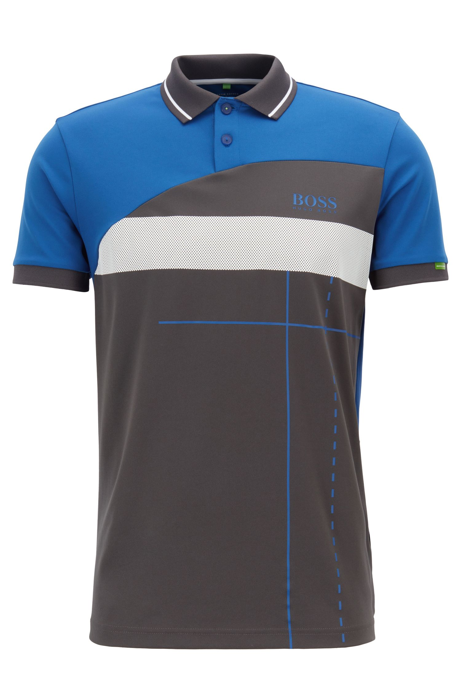 Martin Kaymer regular-fit polo shirt with dynamic artwork, Open Blue