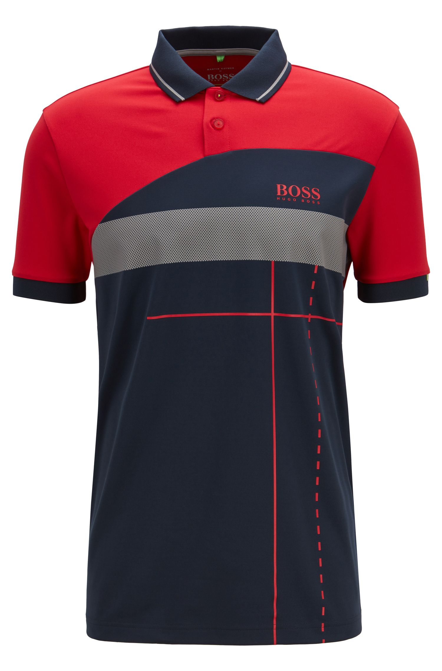 Martin Kaymer regular-fit polo shirt with dynamic artwork, Red
