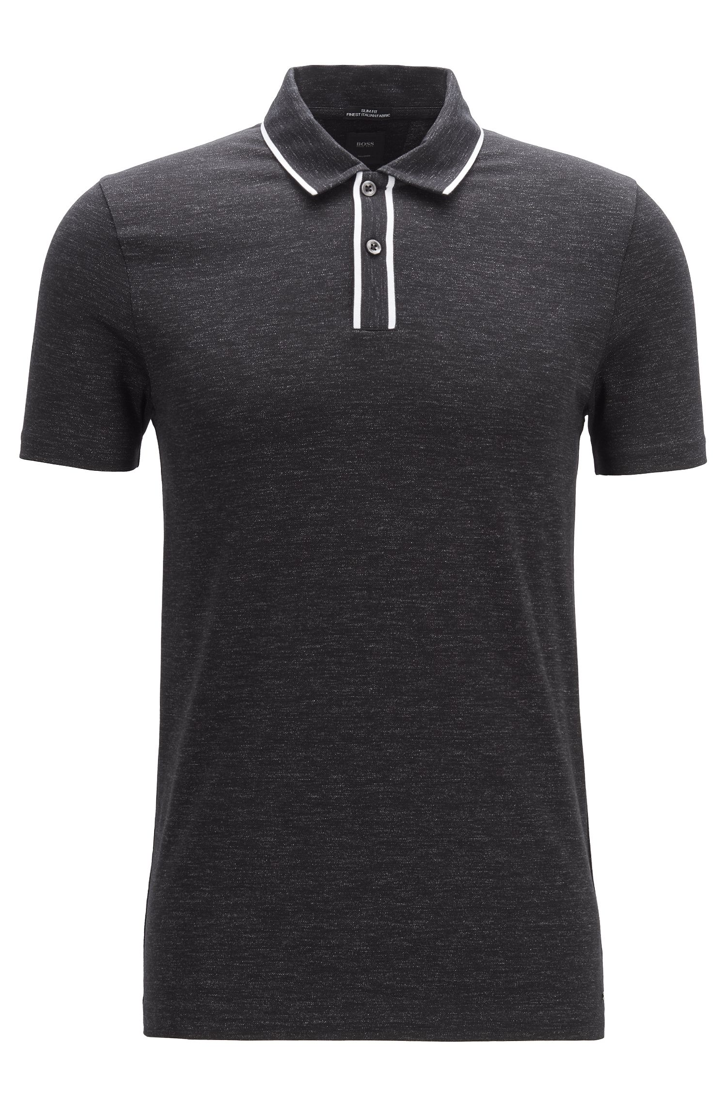 Slim-fit polo shirt in Italian cotton, Black