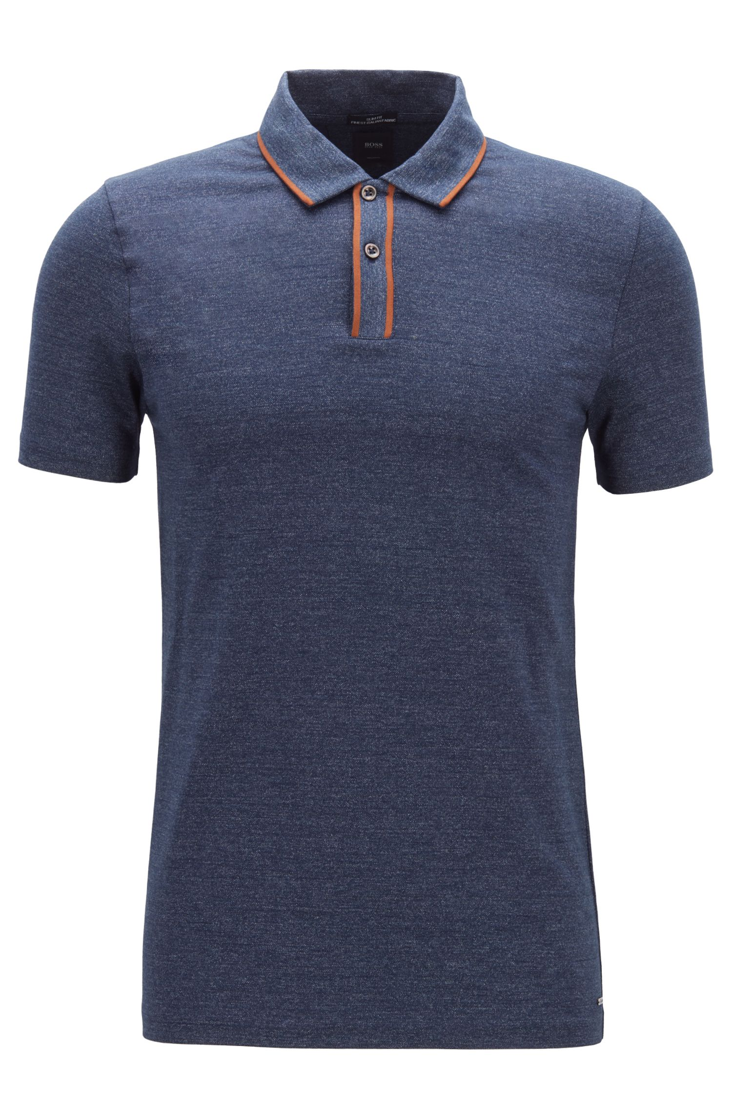 Slim-fit polo shirt in Italian cotton, Dark Blue
