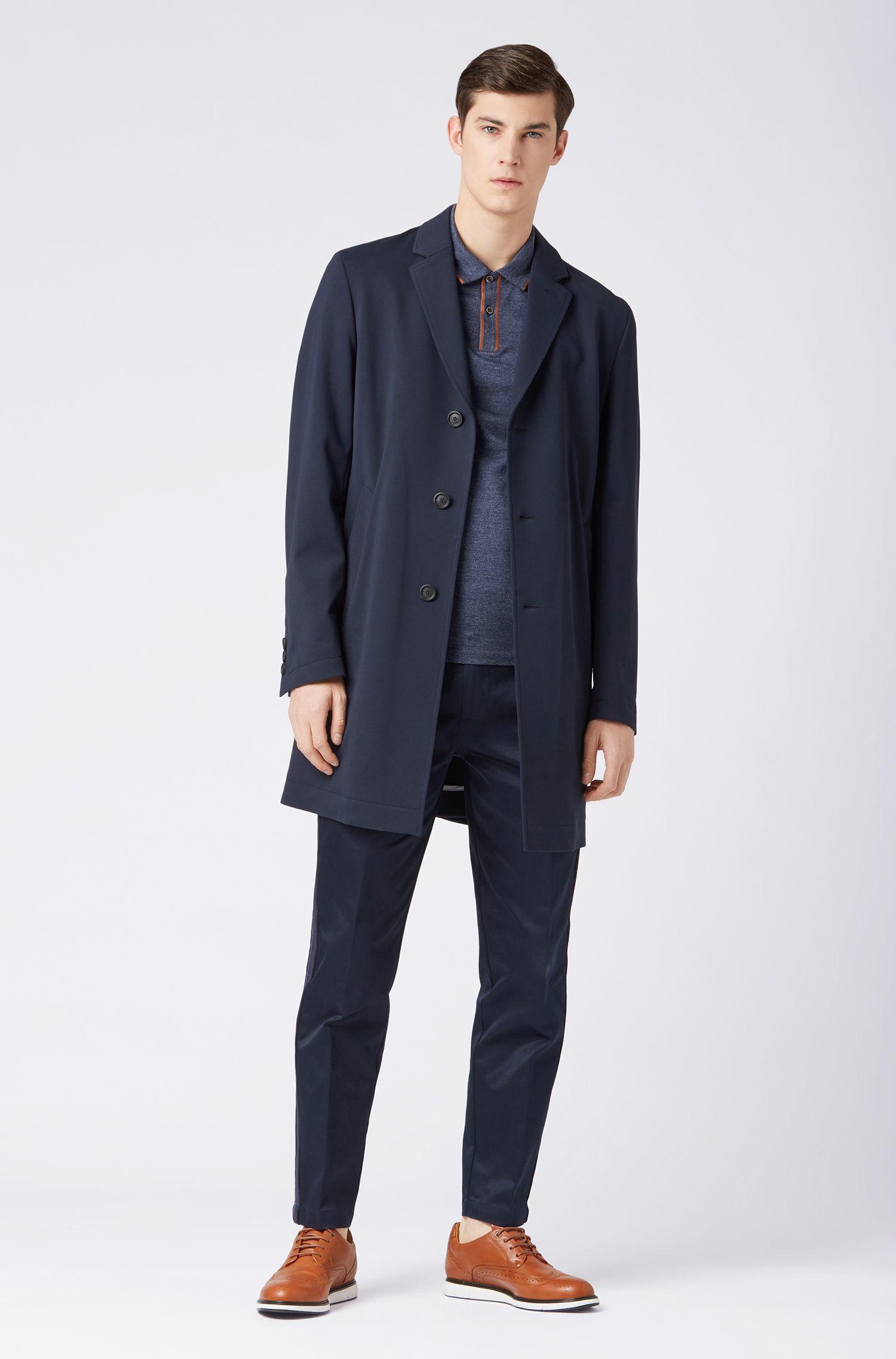 Slim-fit polo shirt in Italian cotton, Dark Blue