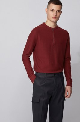 Waffle-cotton Henley top with zippered neck, Dark Red