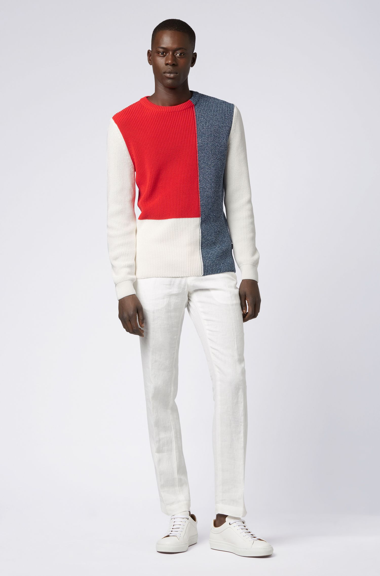 Regular-fit sweater in cotton with color-block construction, White