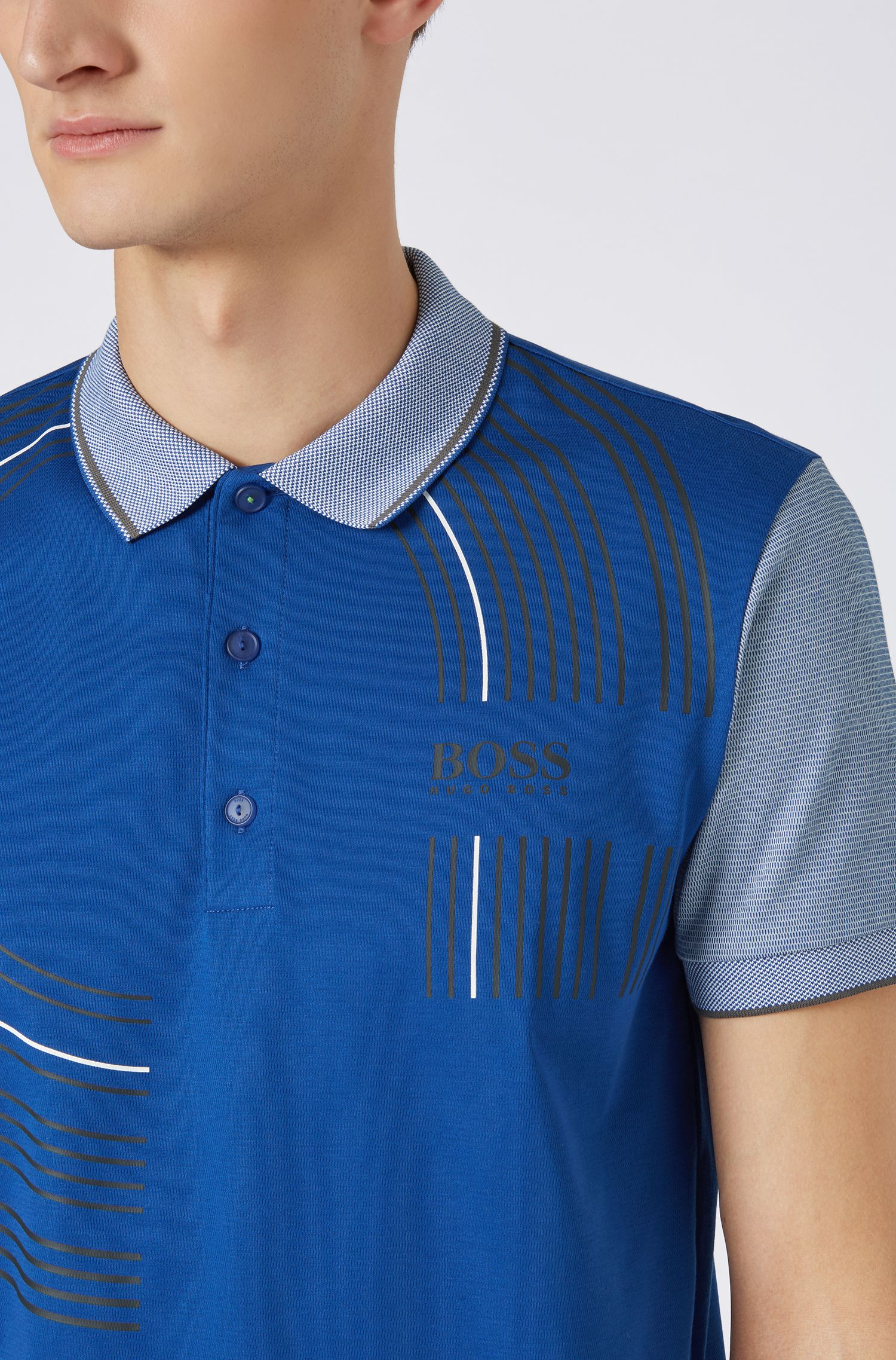 Regular-fit polo shirt in moisture-wicking fabric, Open Blue