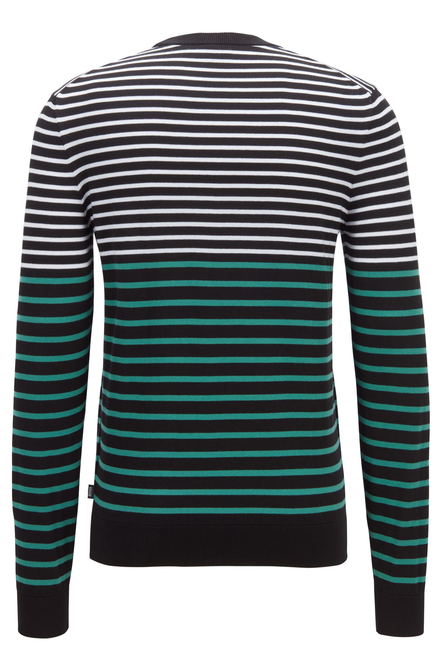 Regular-fit cotton sweater with color-block stripe, Open Green